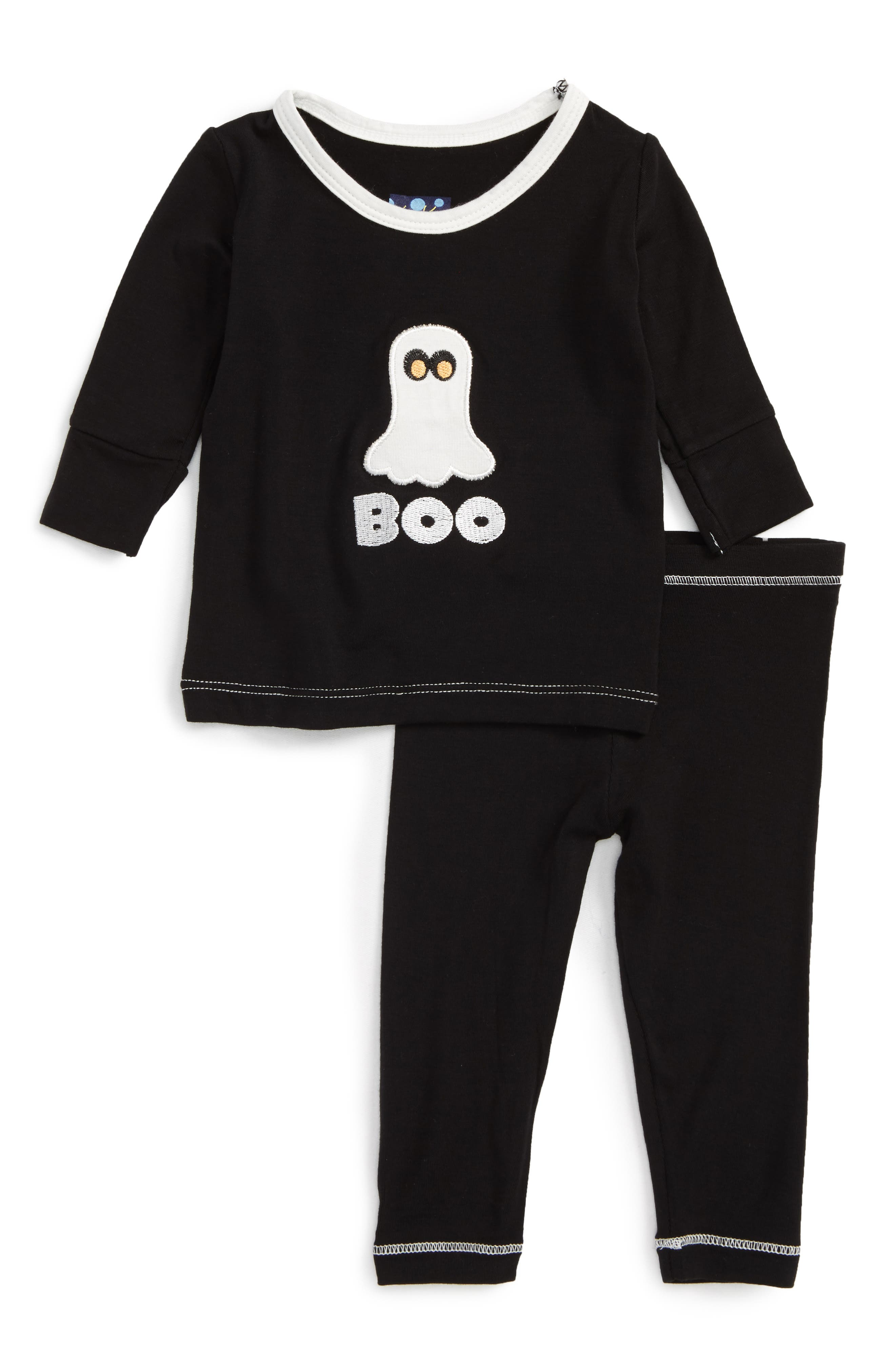 Ghost Fitted Two-Piece Pajamas,                         Main,                         color, Midnight Boo