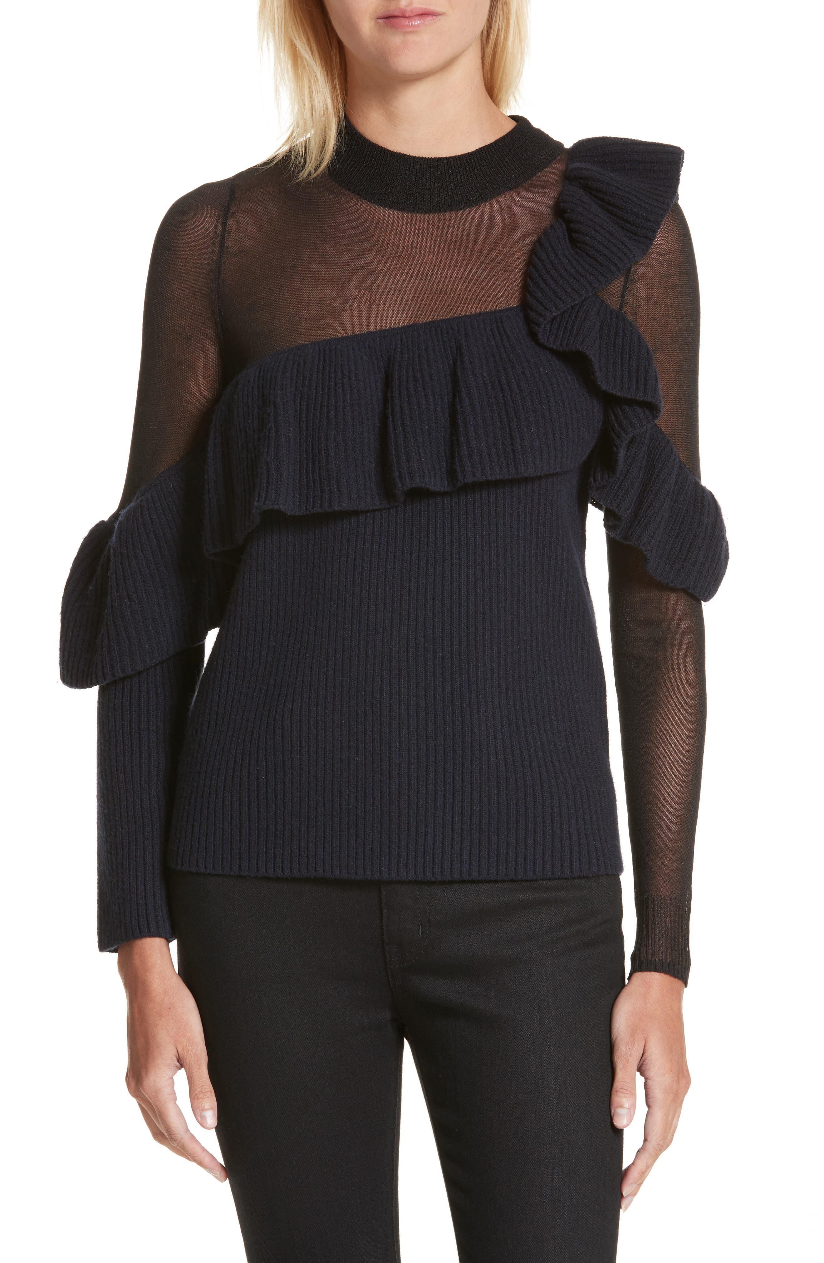 Asymmetrical Frill Illusion Sweater,                         Main,                         color, Blue
