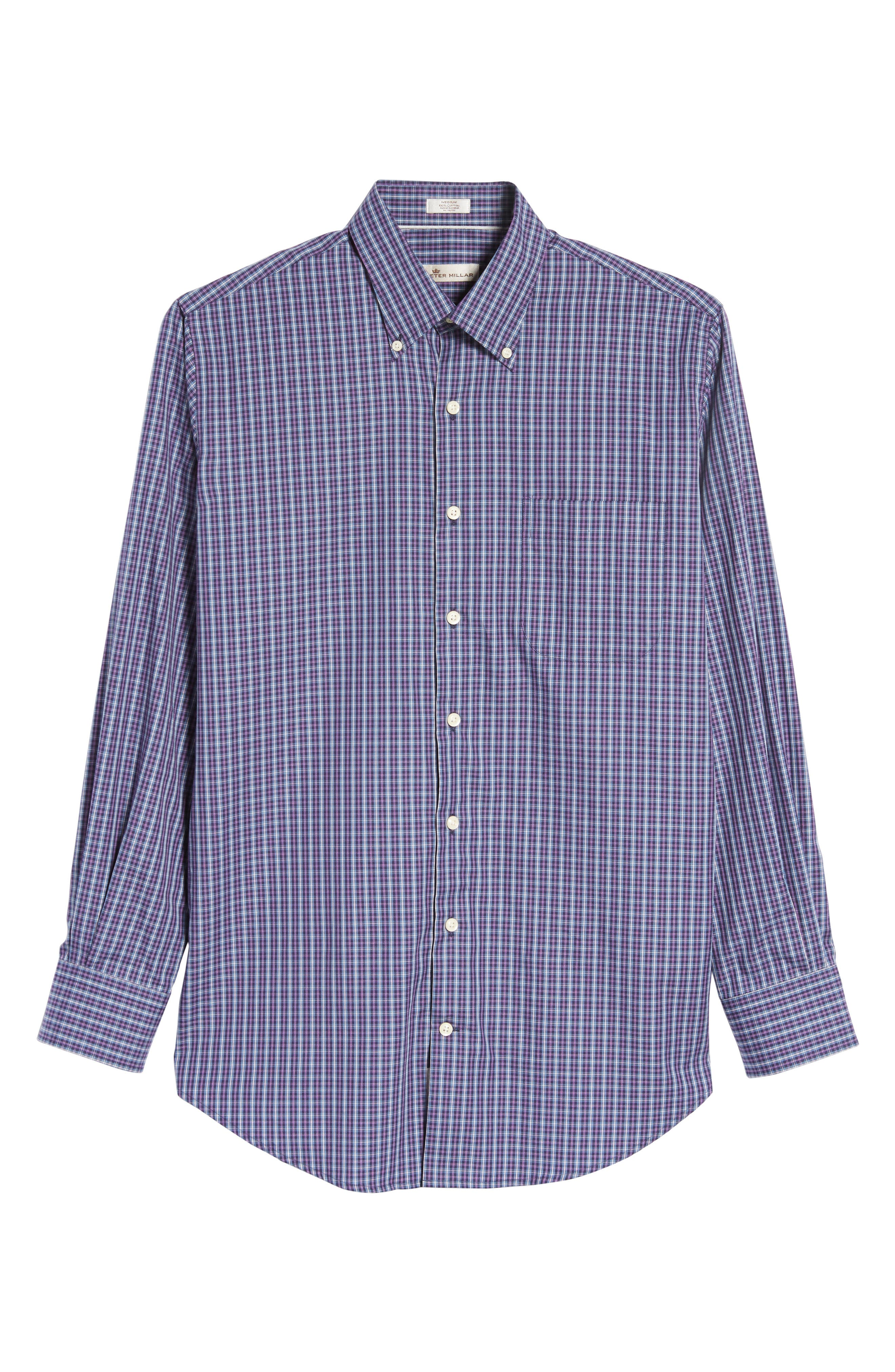 Hillock Regular Fit Plaid Sport Shirt,                             Alternate thumbnail 5, color,                             Moon Blue