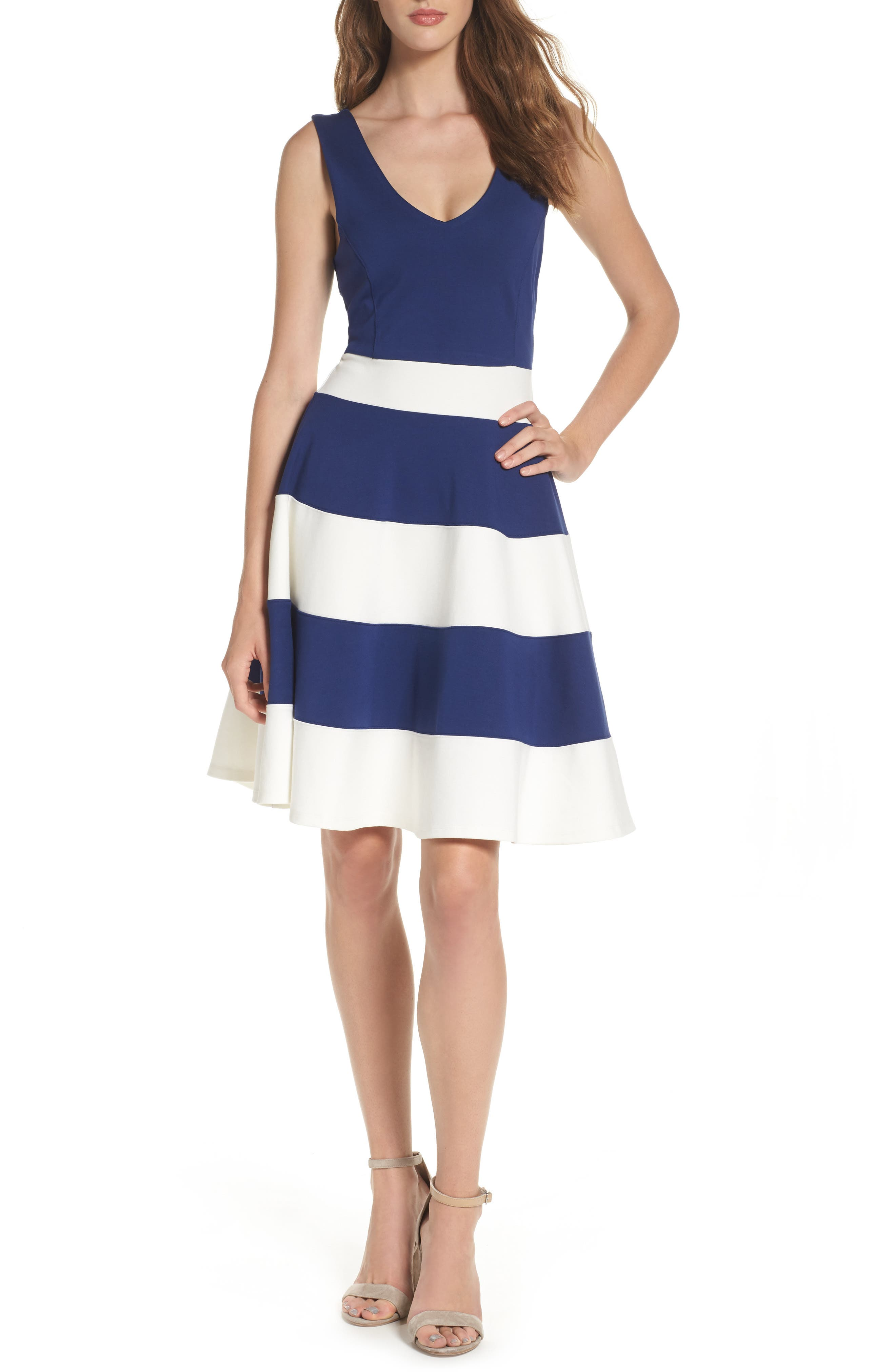 Joice Sleeveless Fit & Flare Dress,                             Main thumbnail 1, color,                             Navy/ White