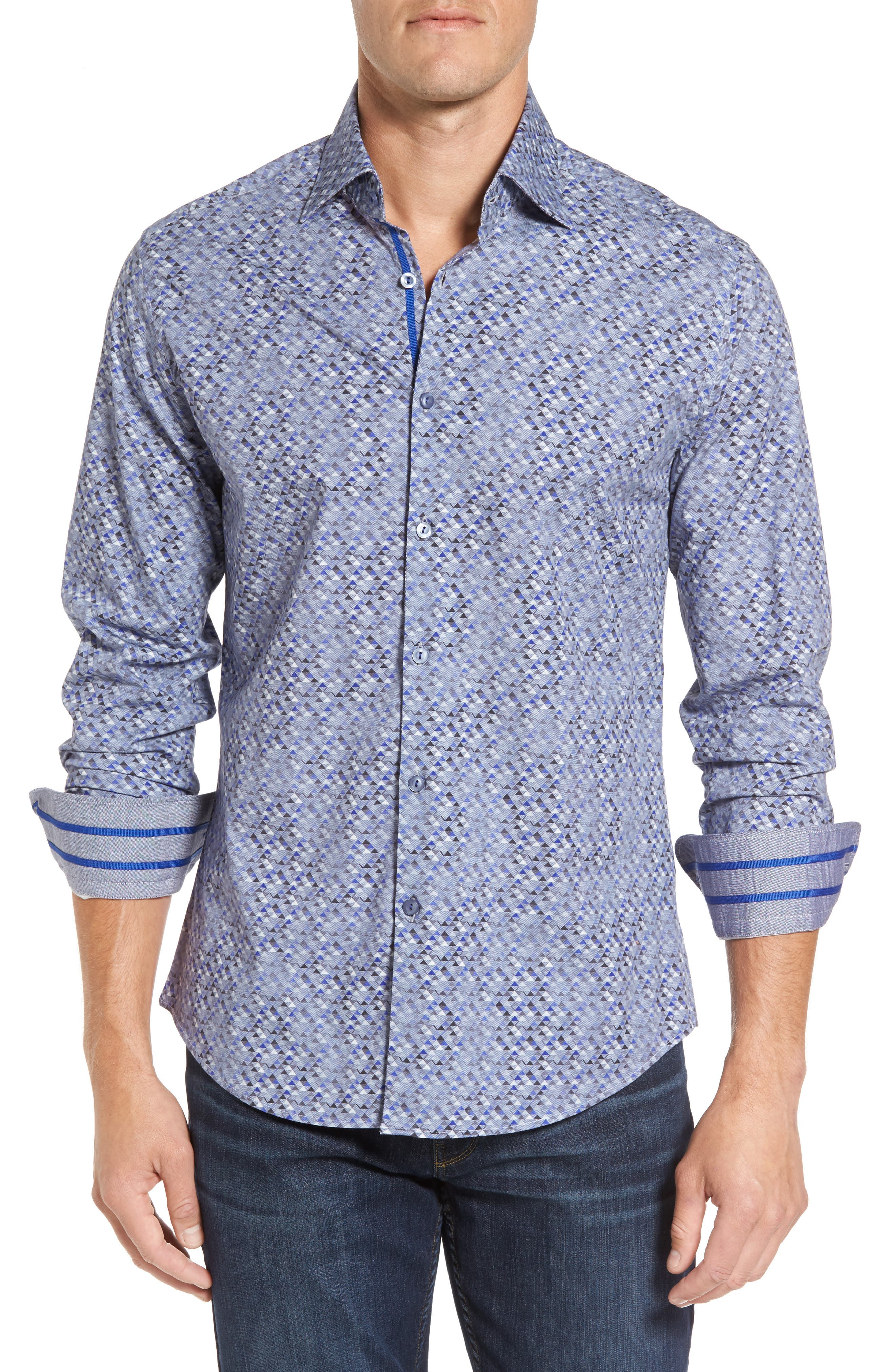 Alternate Image 1 Selected - Stone Rose Slim Fit Triangle Print Sport Shirt