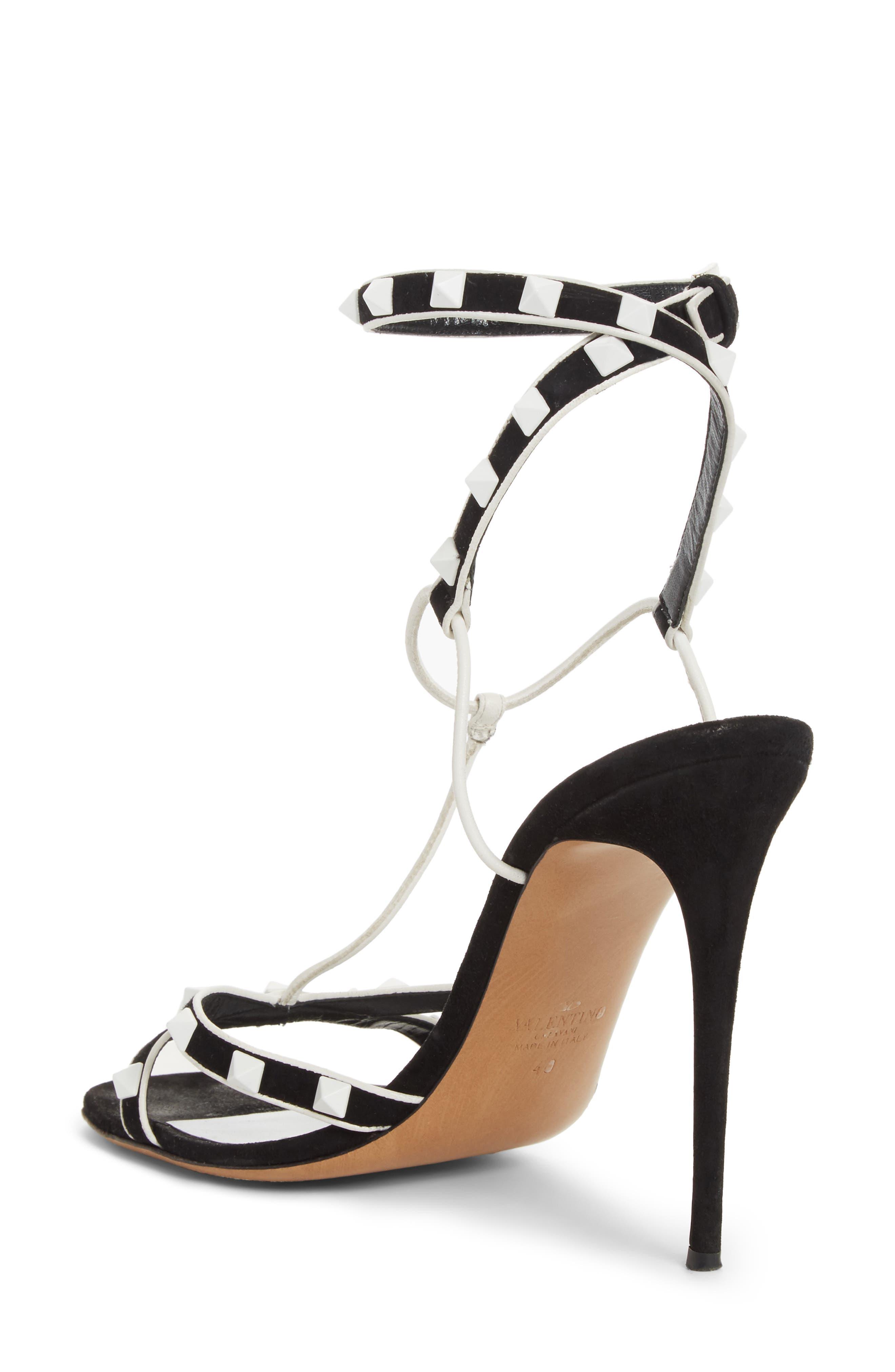 Valentino Free Rockstud T-Strap Sandal,                             Alternate thumbnail 2, color,                             Black/ White