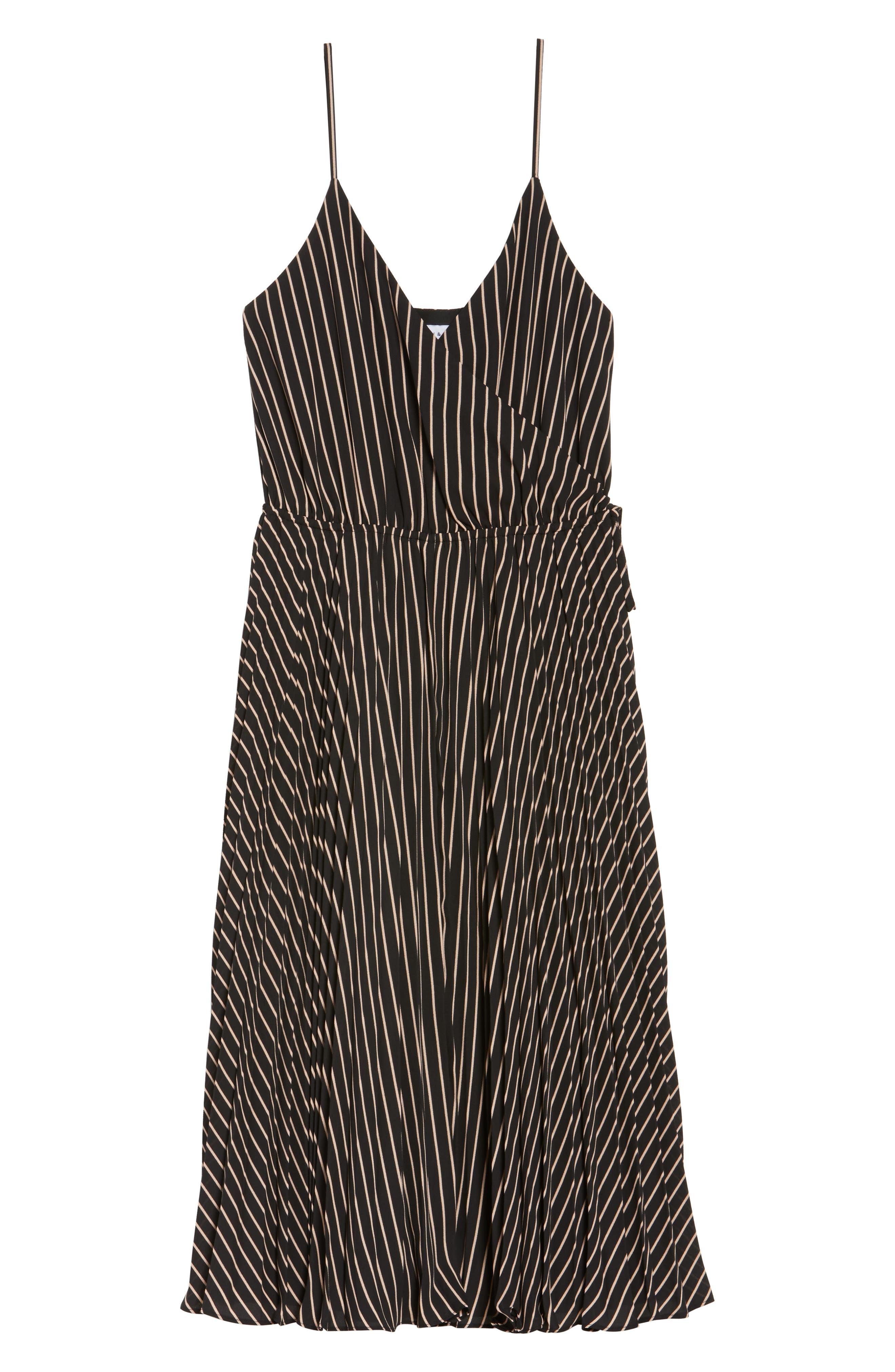 Like a Boss Midi Dress,                             Alternate thumbnail 6, color,                             Black/ Tan Stripe