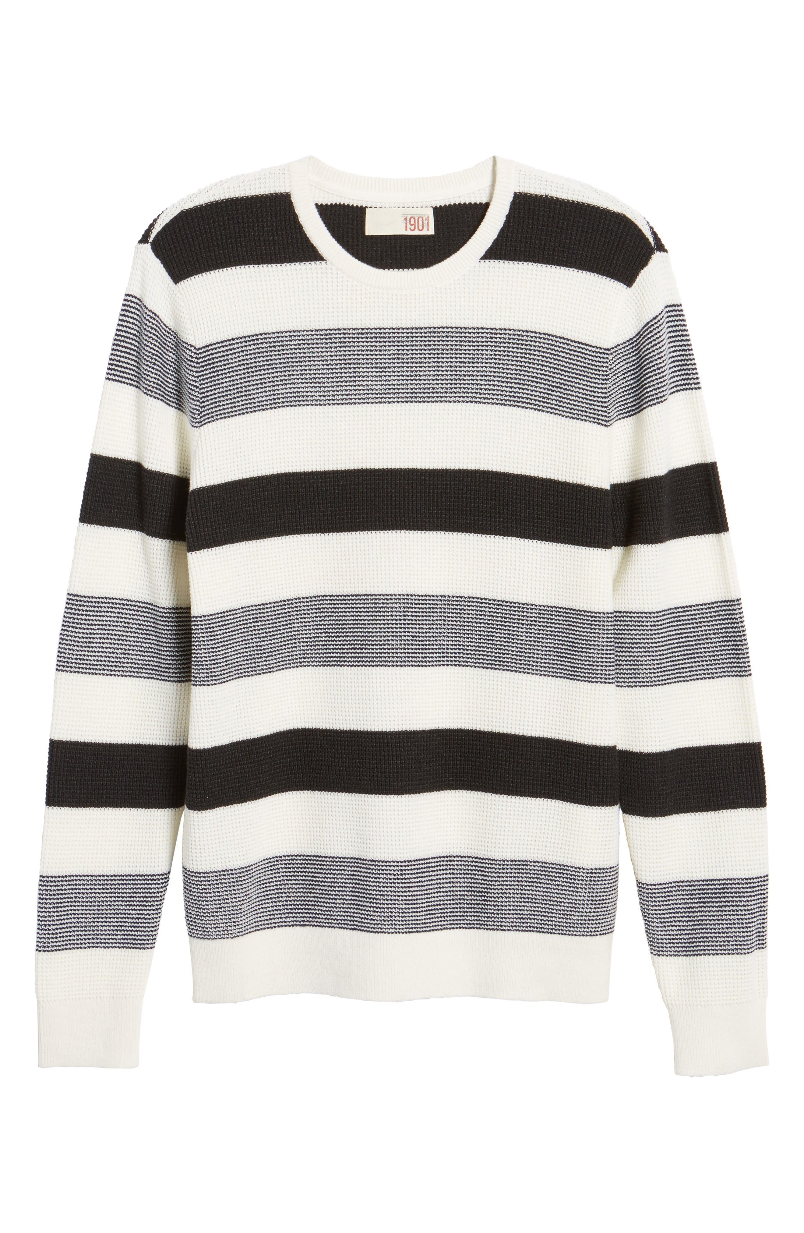 Stripe Waffle Knit Sweater,                             Alternate thumbnail 6, color,                             Ivory- Grey Large Stripe