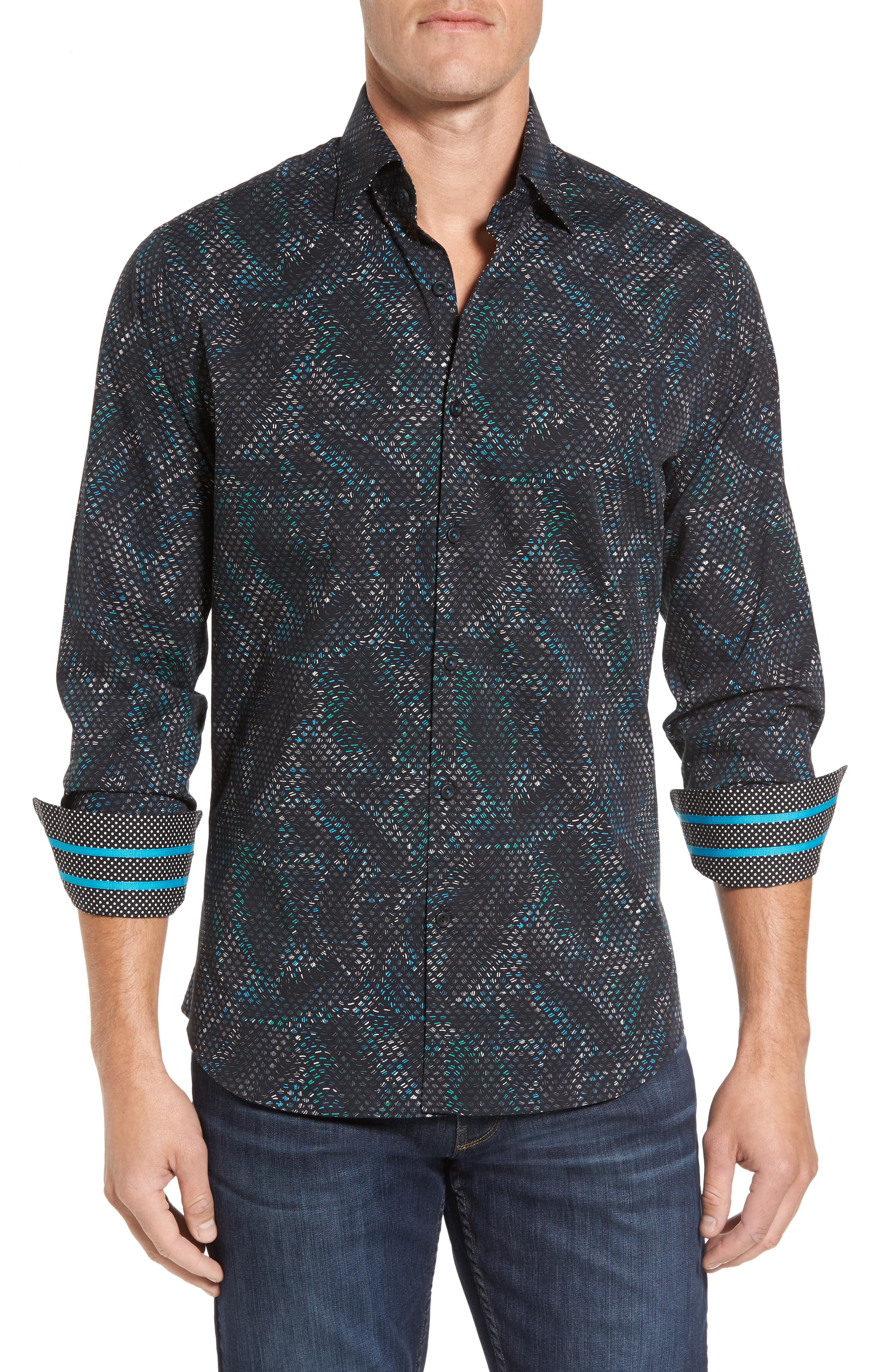 Stone Rose Slim Fit Scale FX Print Sport Shirt