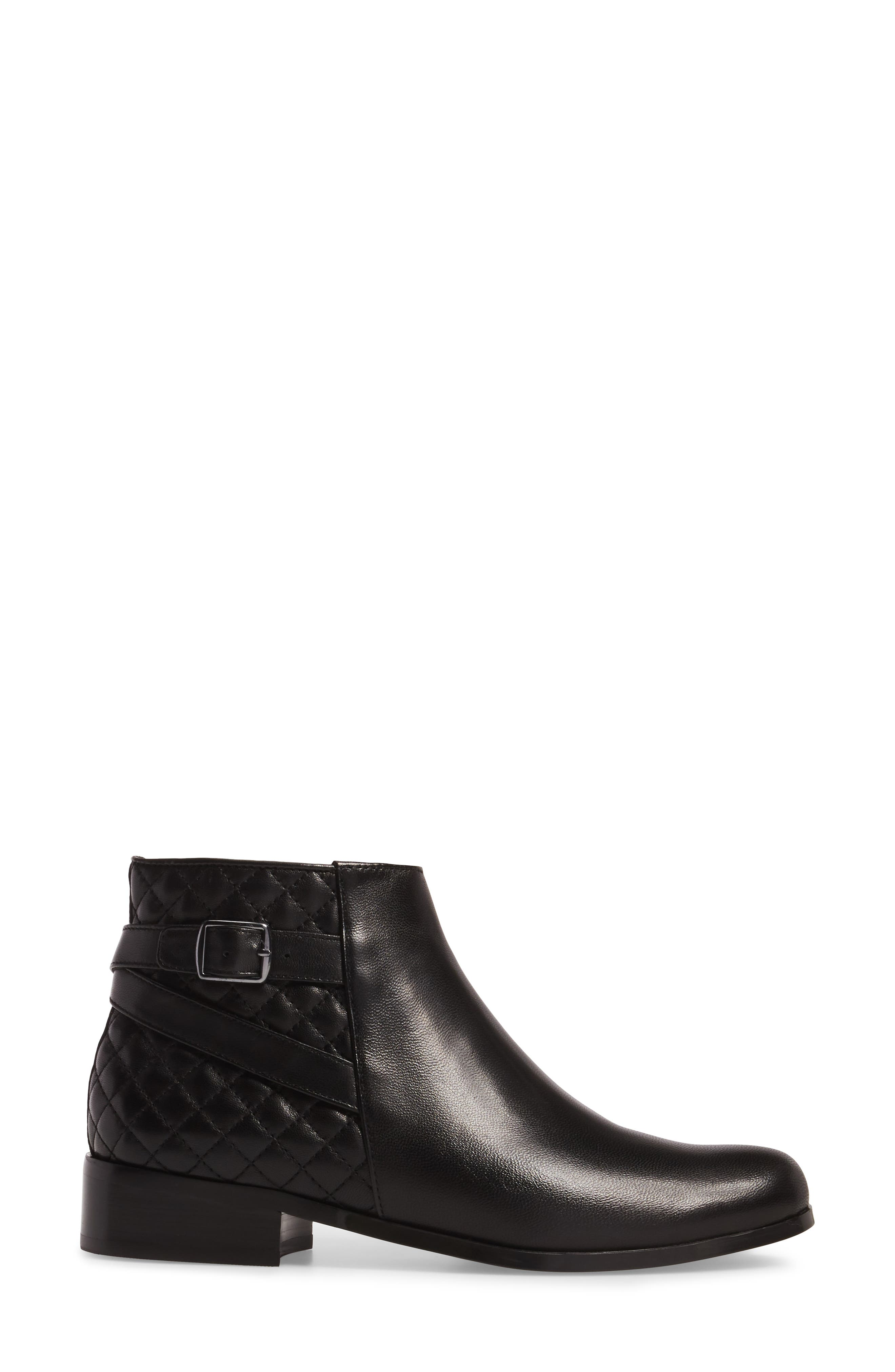 Reanne Buckle Bootie,                             Alternate thumbnail 3, color,                             Black Leather
