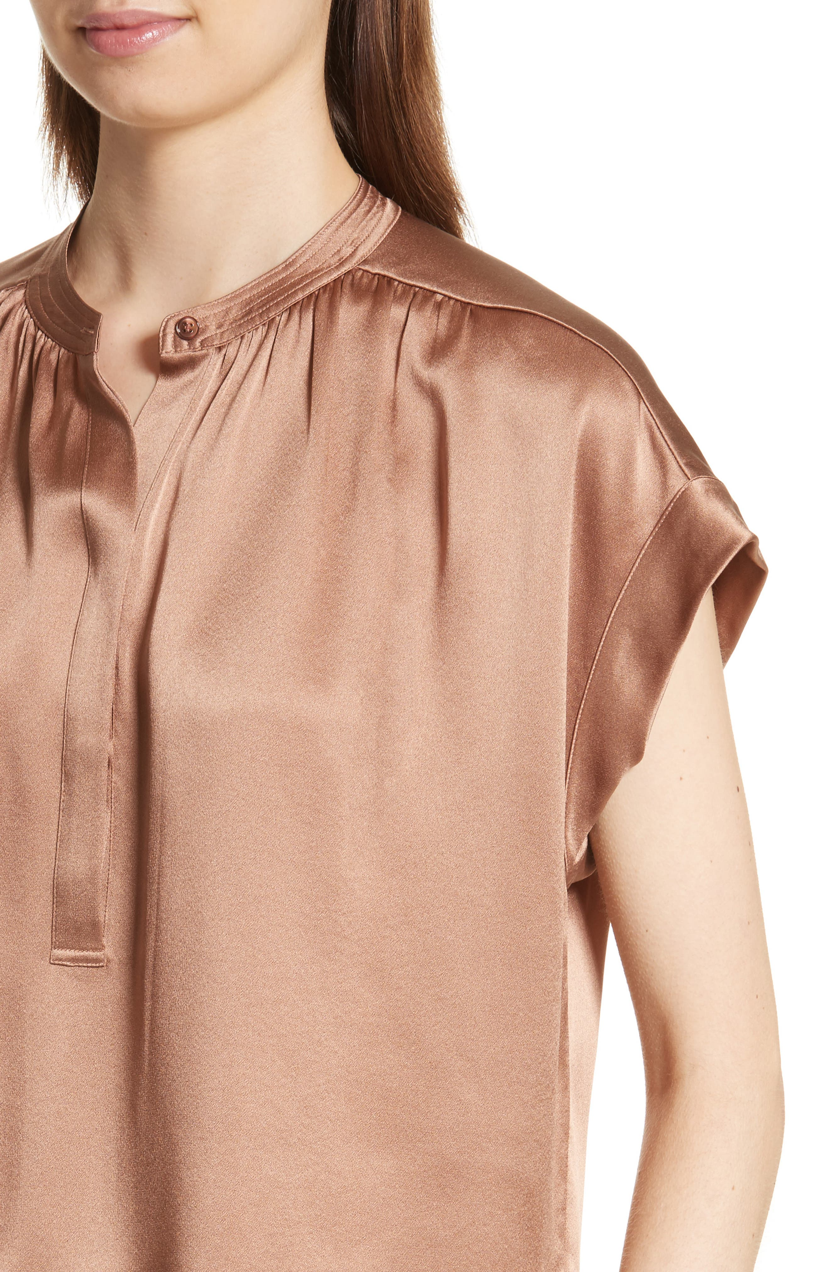 Shirred Silk Blouse,                             Alternate thumbnail 4, color,                             Tobacco