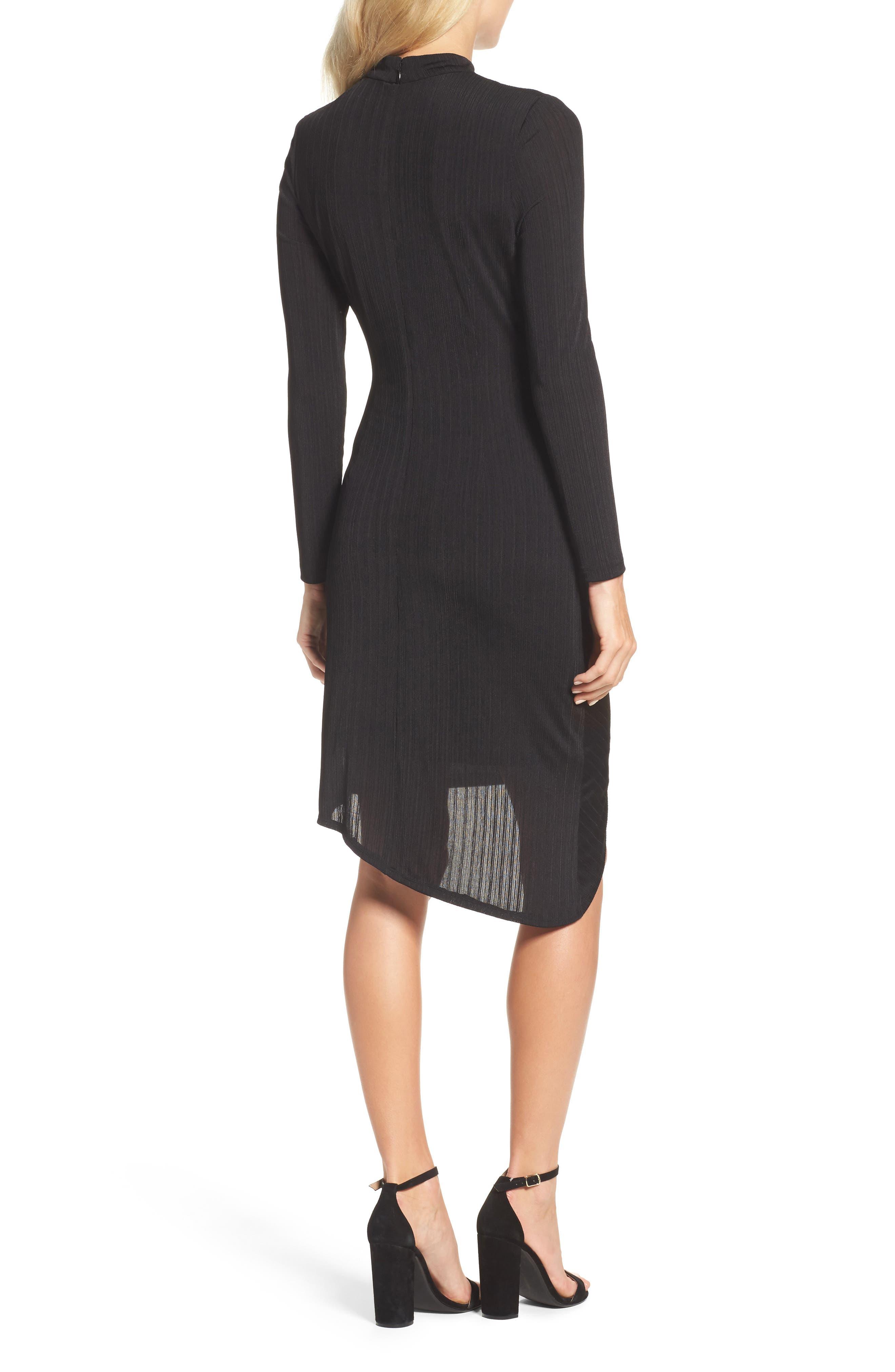 Choker Neck Asymmetric Dress,                             Alternate thumbnail 2, color,                             Black