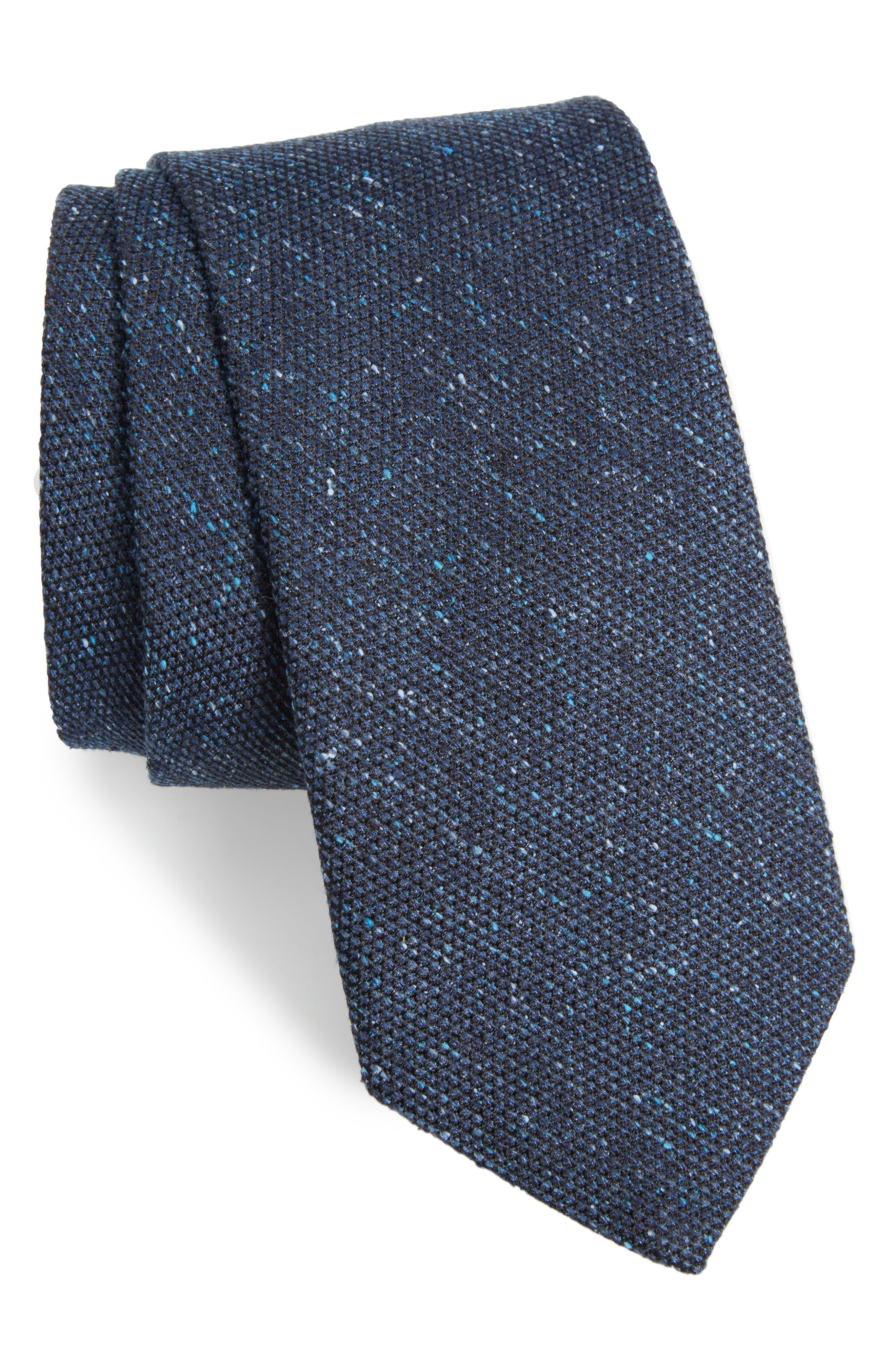 Solid Silk Tweed Tie,                         Main,                         color, Tweed Blue