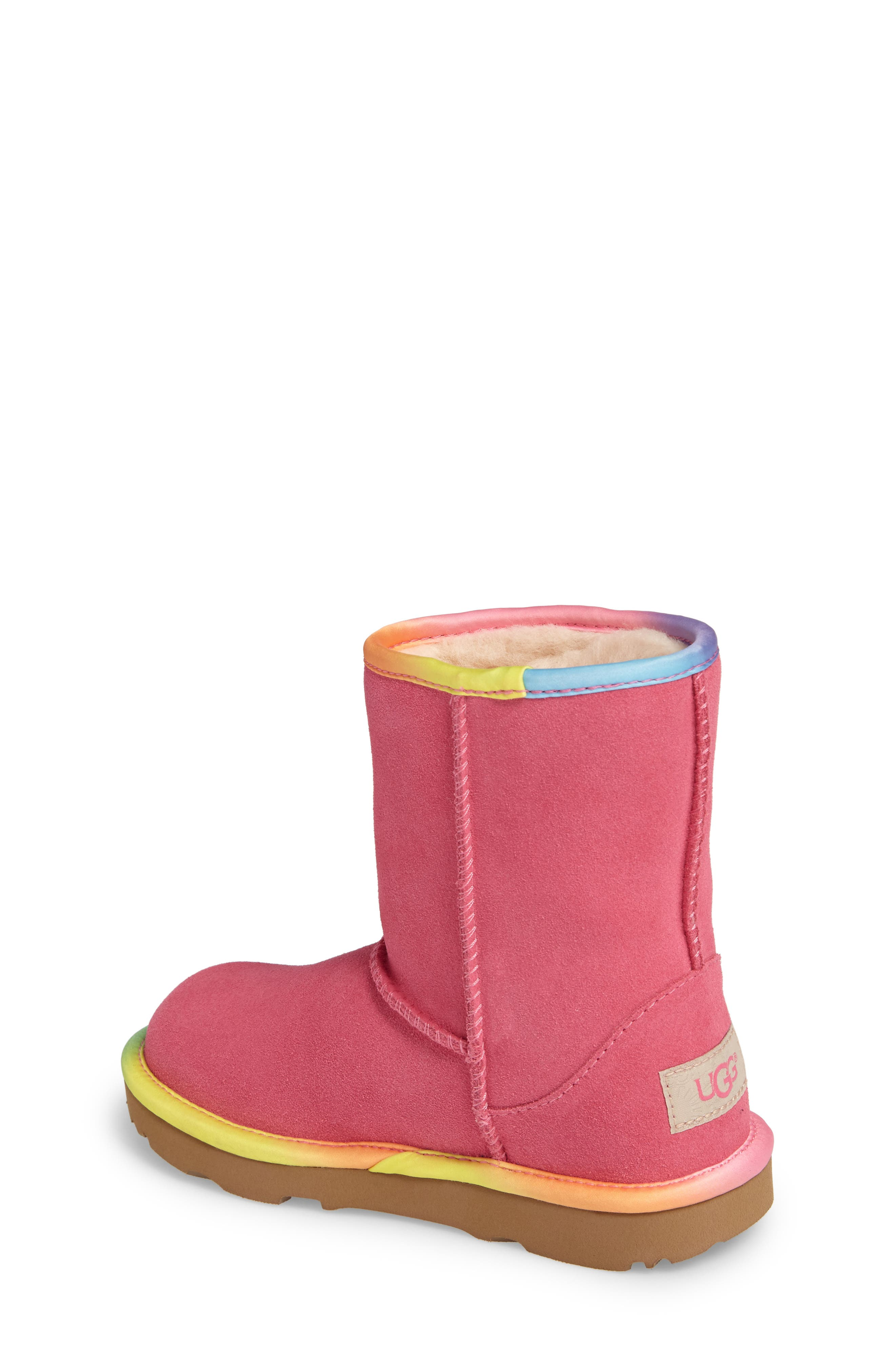 Alternate Image 2  - UGG® Classic Short II Water-Resistant Genuine Shearling Rainbow Boot (Walker, Toddler, Little Kid & Big Kid)