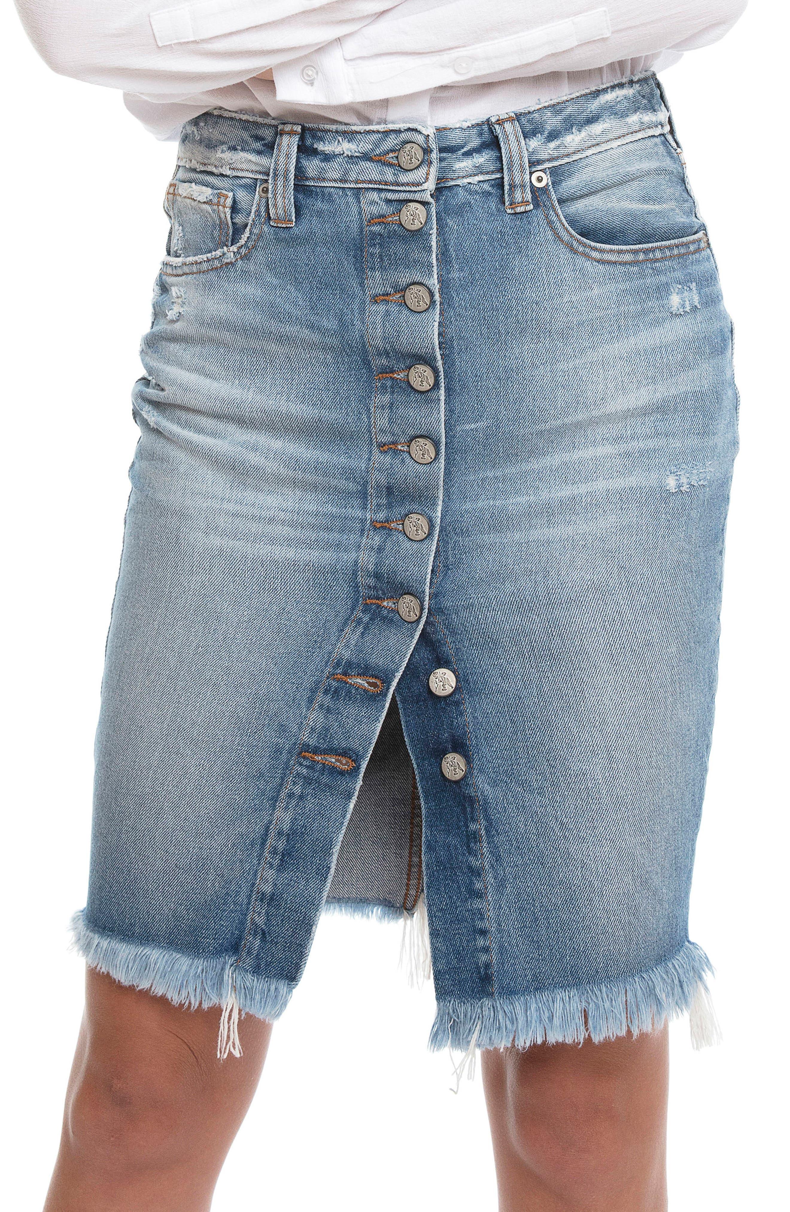 Button Down Denim Pencil Skirt,                         Main,                         color, Vintage Blue