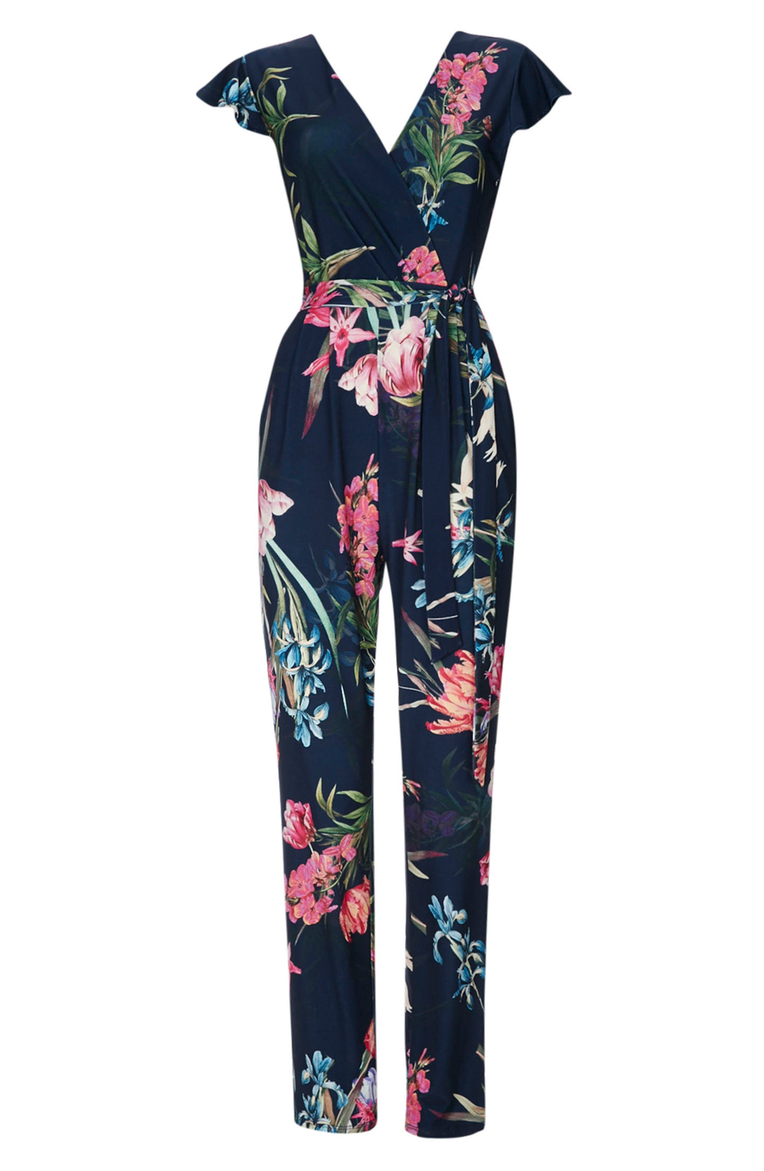 Tulip Blossom Jumpsuit,                             Alternate thumbnail 6, color,                             Navy