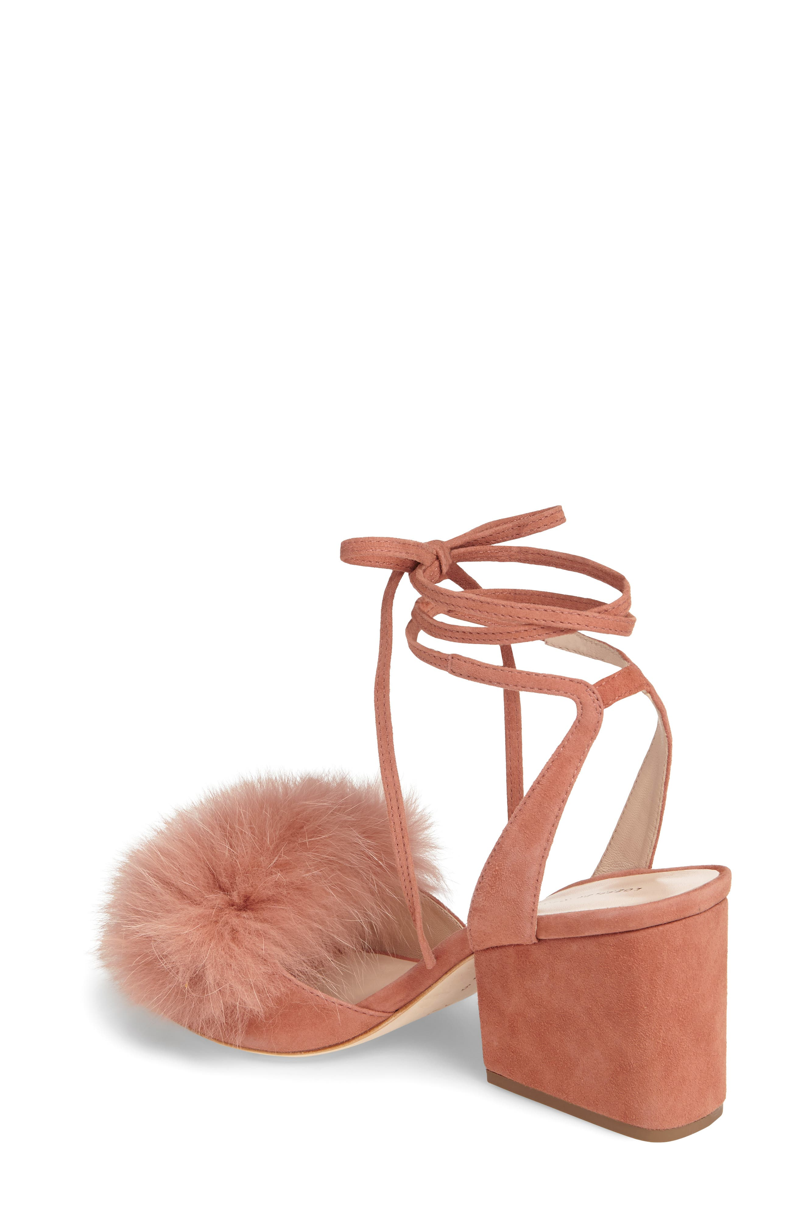 Alternate Image 2  - Loeffler Randall Nicky Genuine Fox Fur Ankle Wrap Sandal (Women)