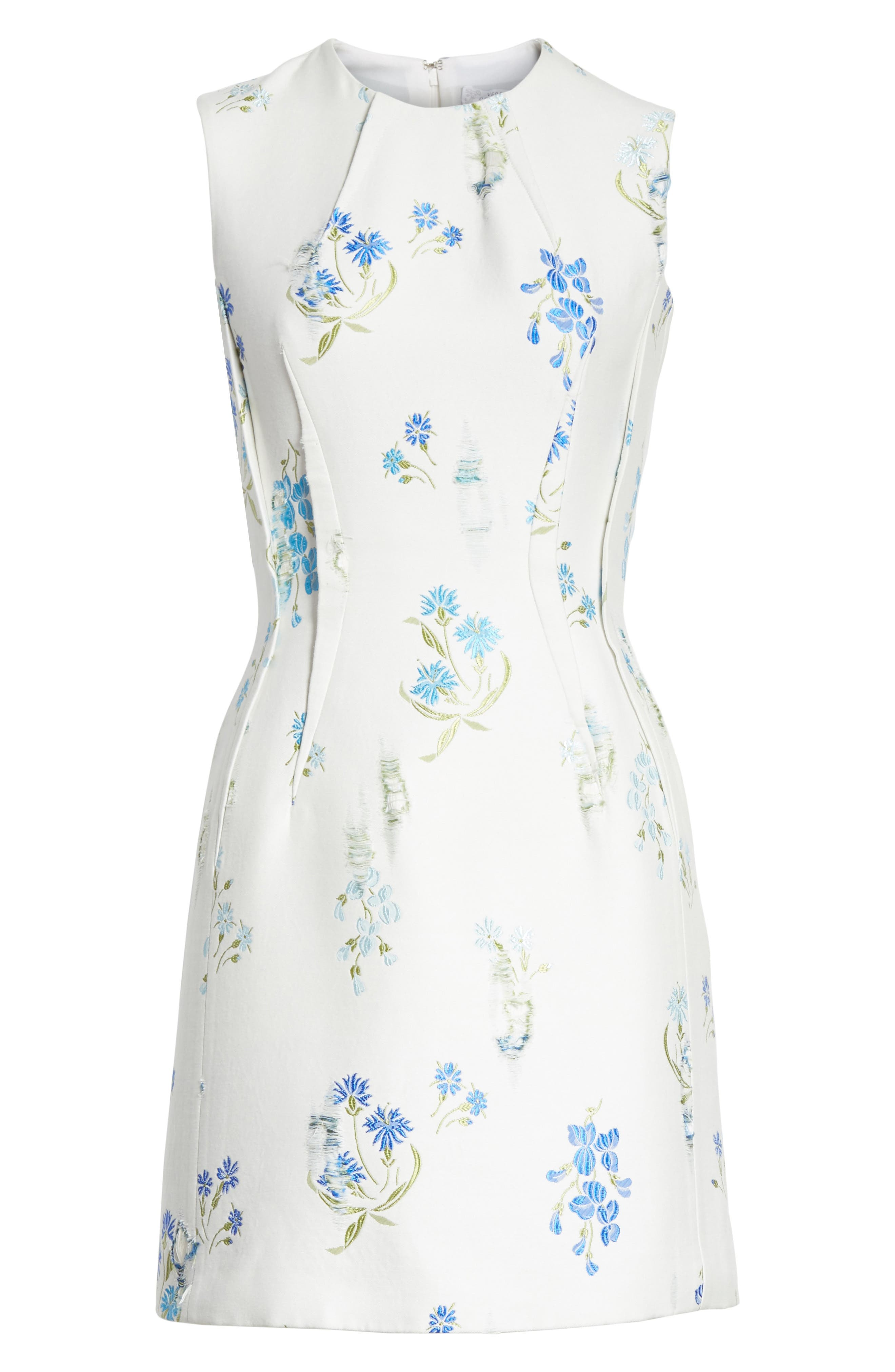 Alternate Image 6  - Versace Collection Distressed Floral Jacquard Fit & Flare Dress