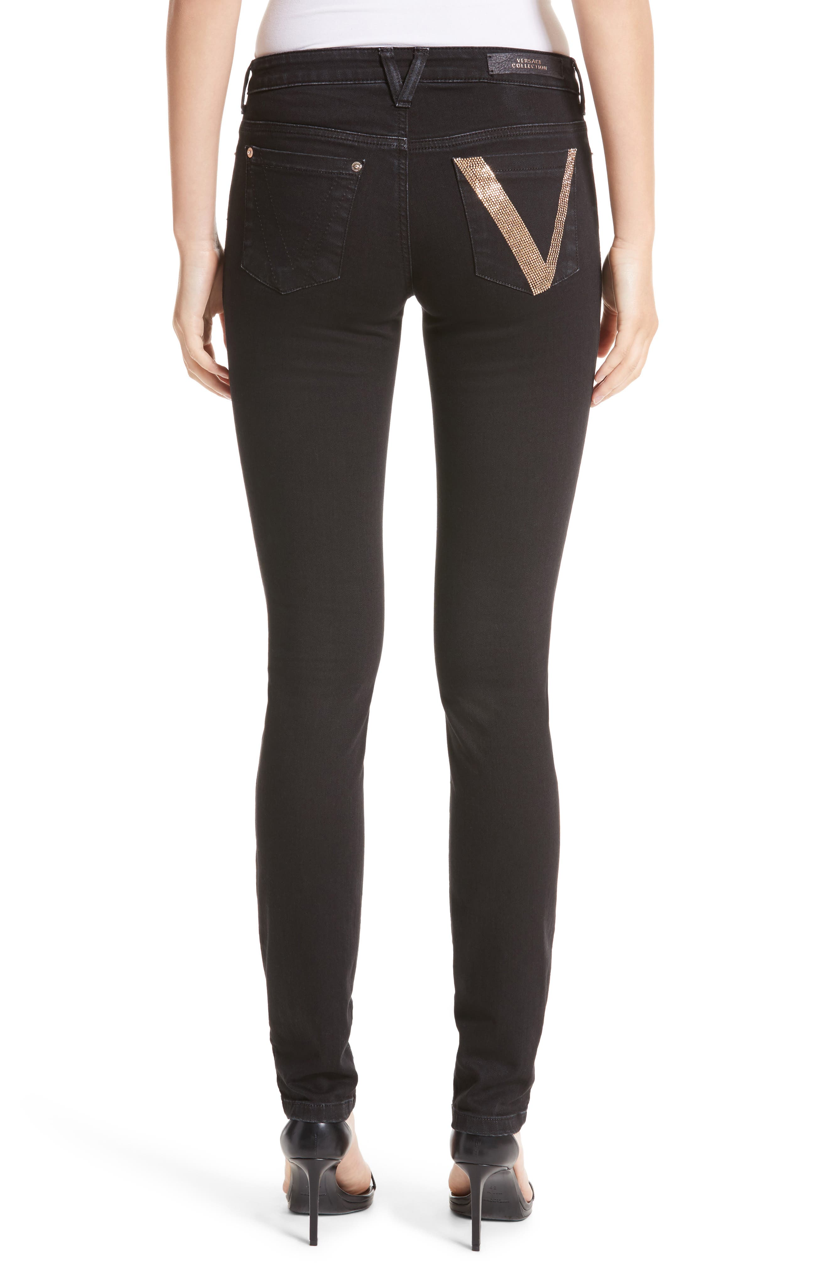 Alternate Image 2  - Versace Collection Embellished Pocket Skinny Jeans