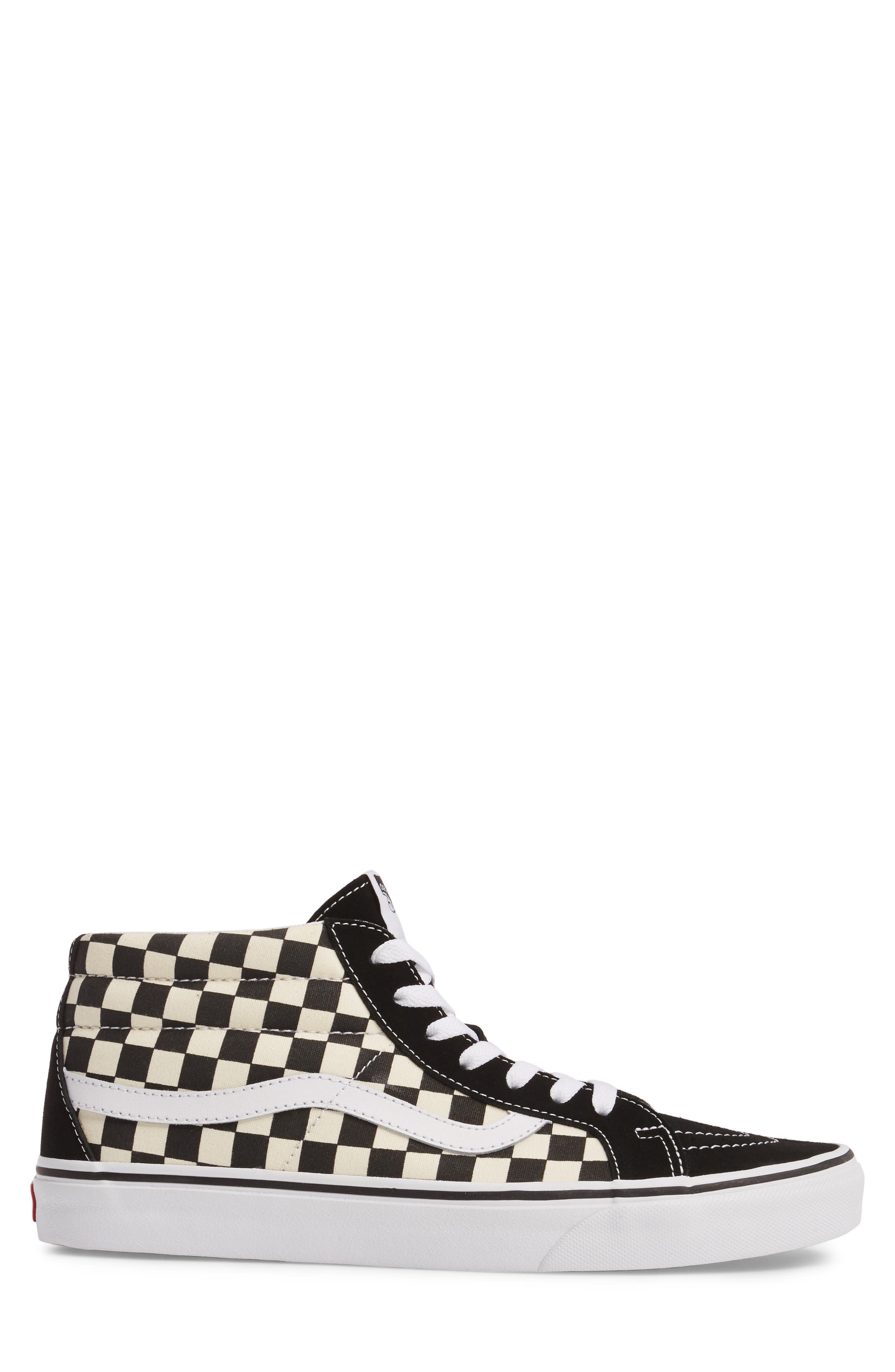 Sk8-Mid Reissue Sneaker,                             Alternate thumbnail 3, color,                             White Checker Canvas/ Suede
