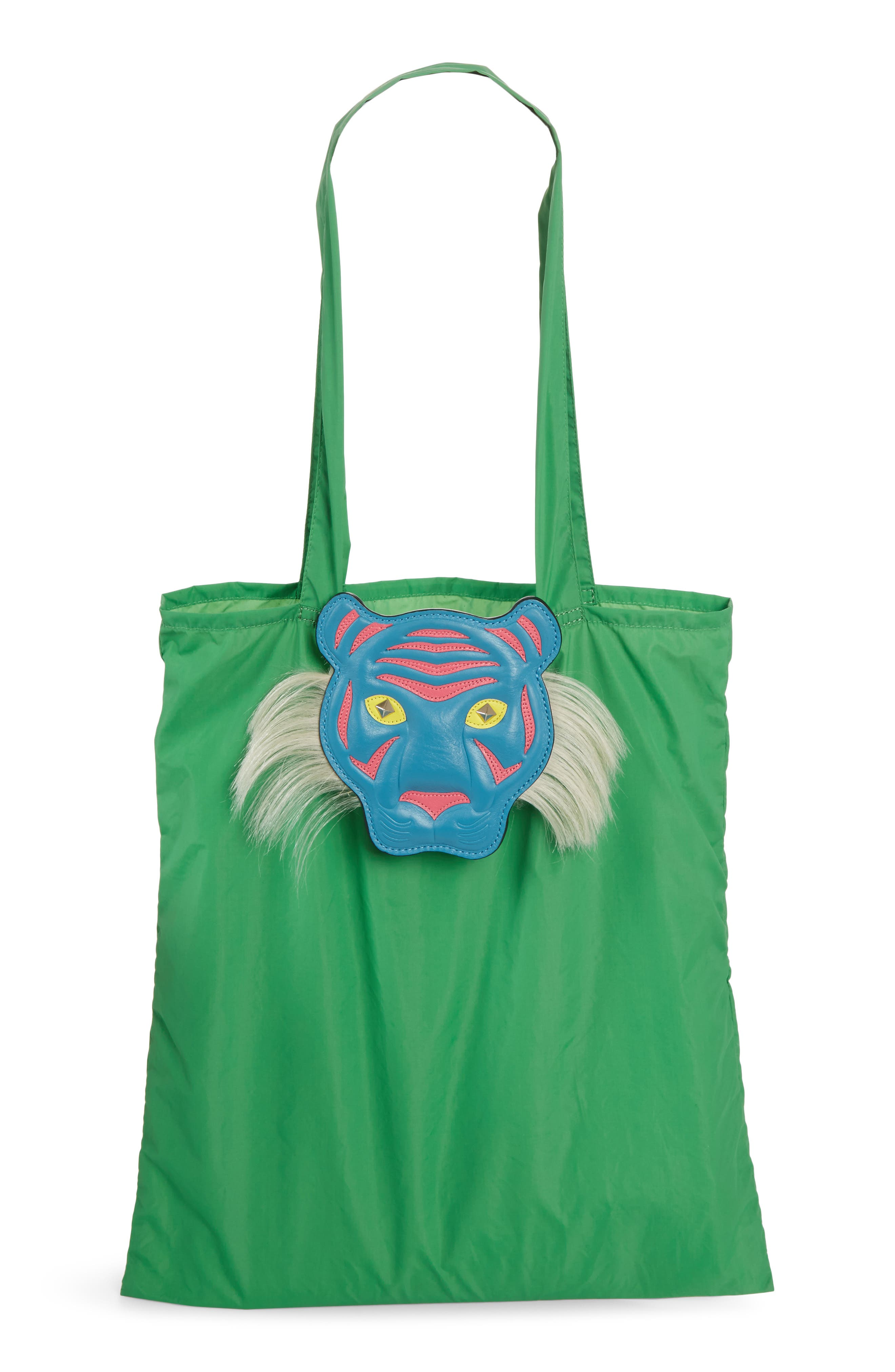 Nylon Tote with Genuine Goat Fur & Leather Bag Charm,                             Main thumbnail 1, color,                             Green Multi