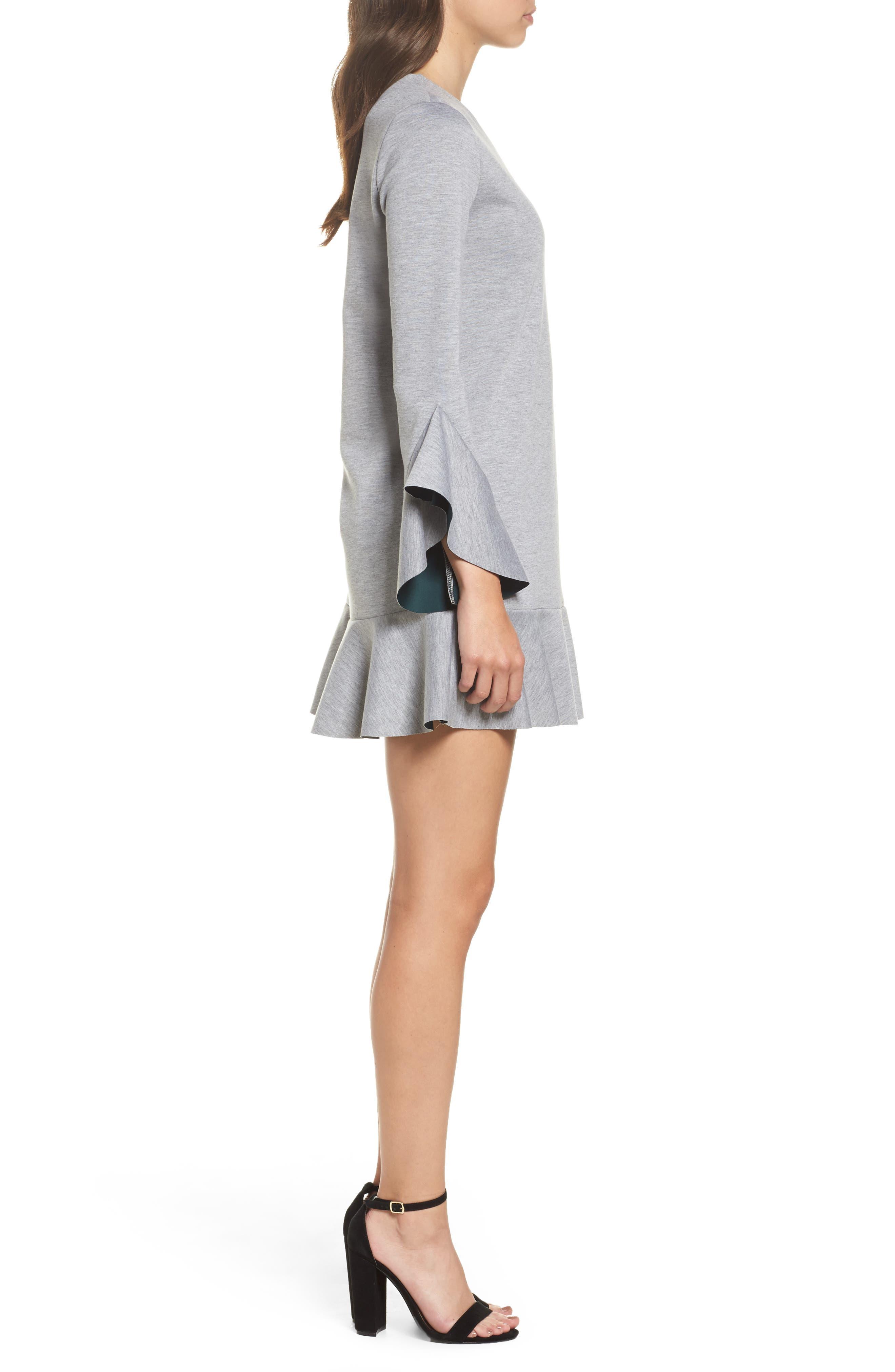 Ruffle Scuba Dress,                             Alternate thumbnail 4, color,                             Grey Heather