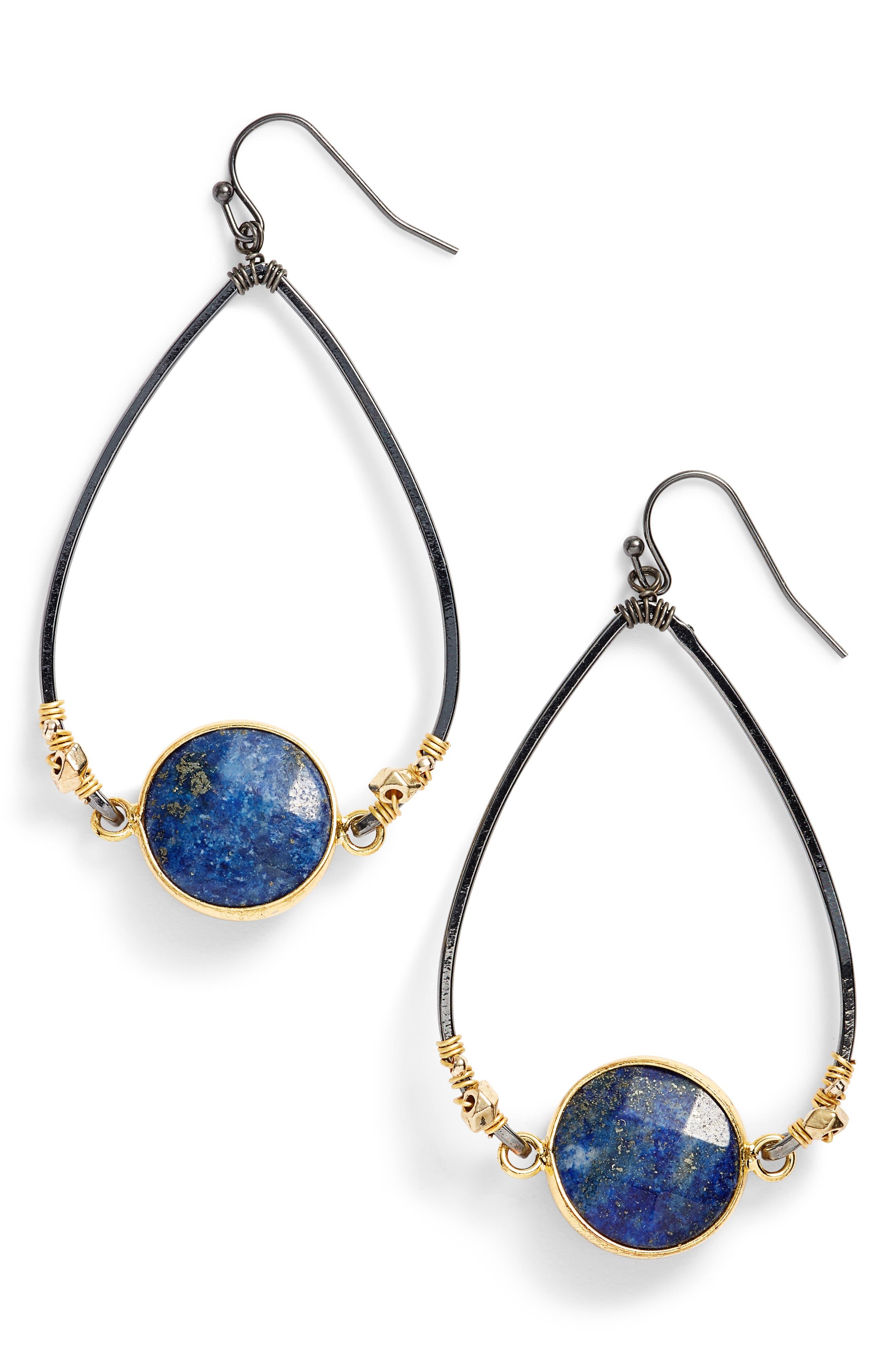 Nakamol Design Bezan Faceted Lapis Teardrop Earrings