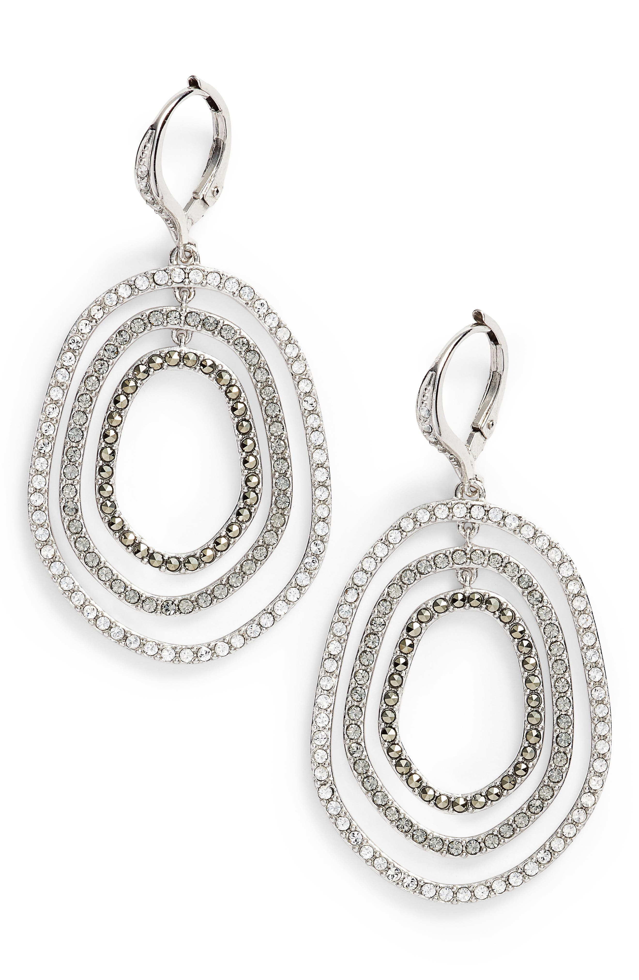 Orbital Crystal Drop Earrings,                         Main,                         color, Silver