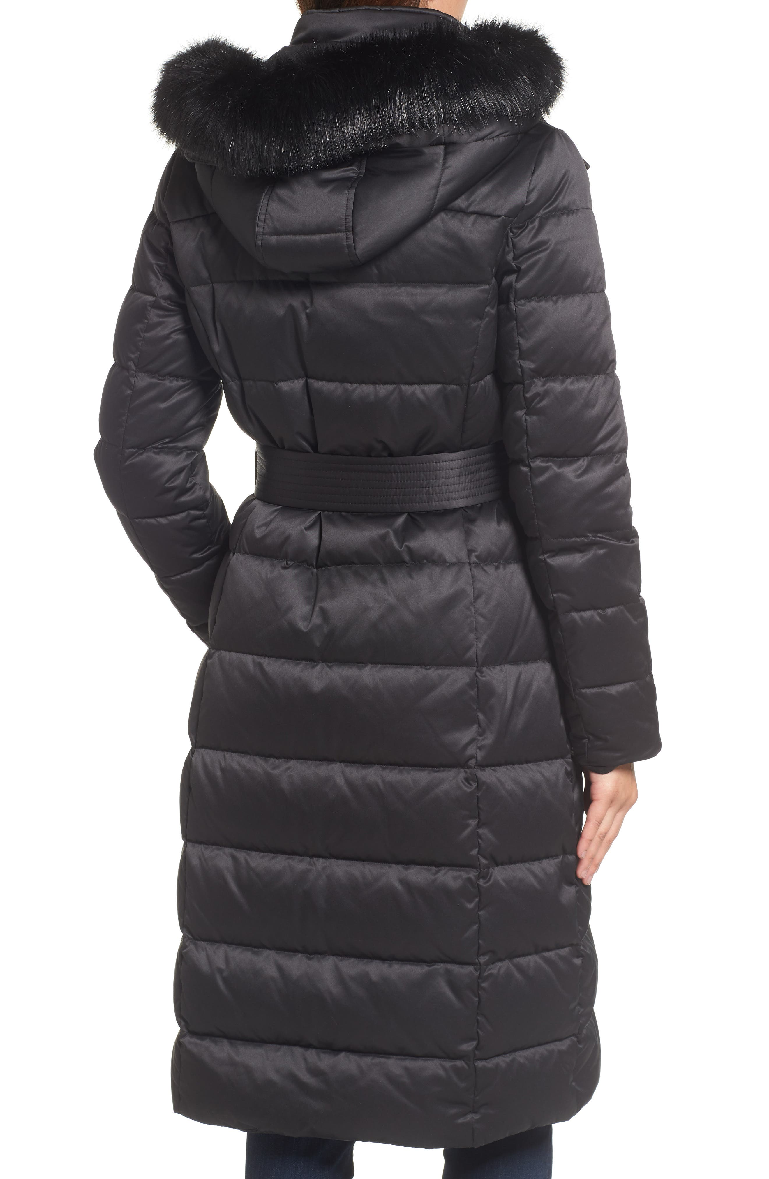 Down Midi Coat with Faux Fur Trim,                             Alternate thumbnail 2, color,                             Black