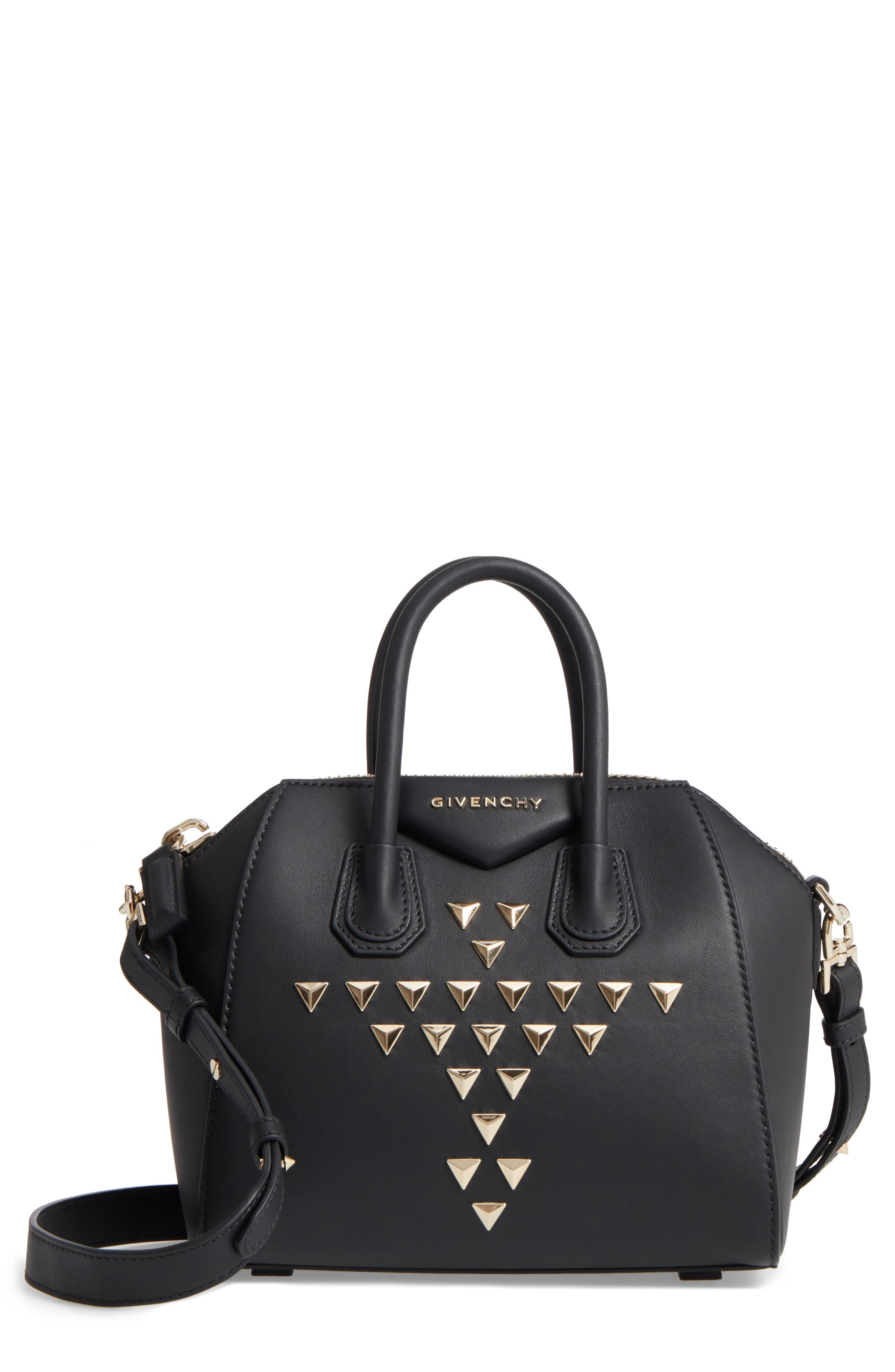 Givenchy Mini Antigona Triangle Stud Calfskin Leather Satchel