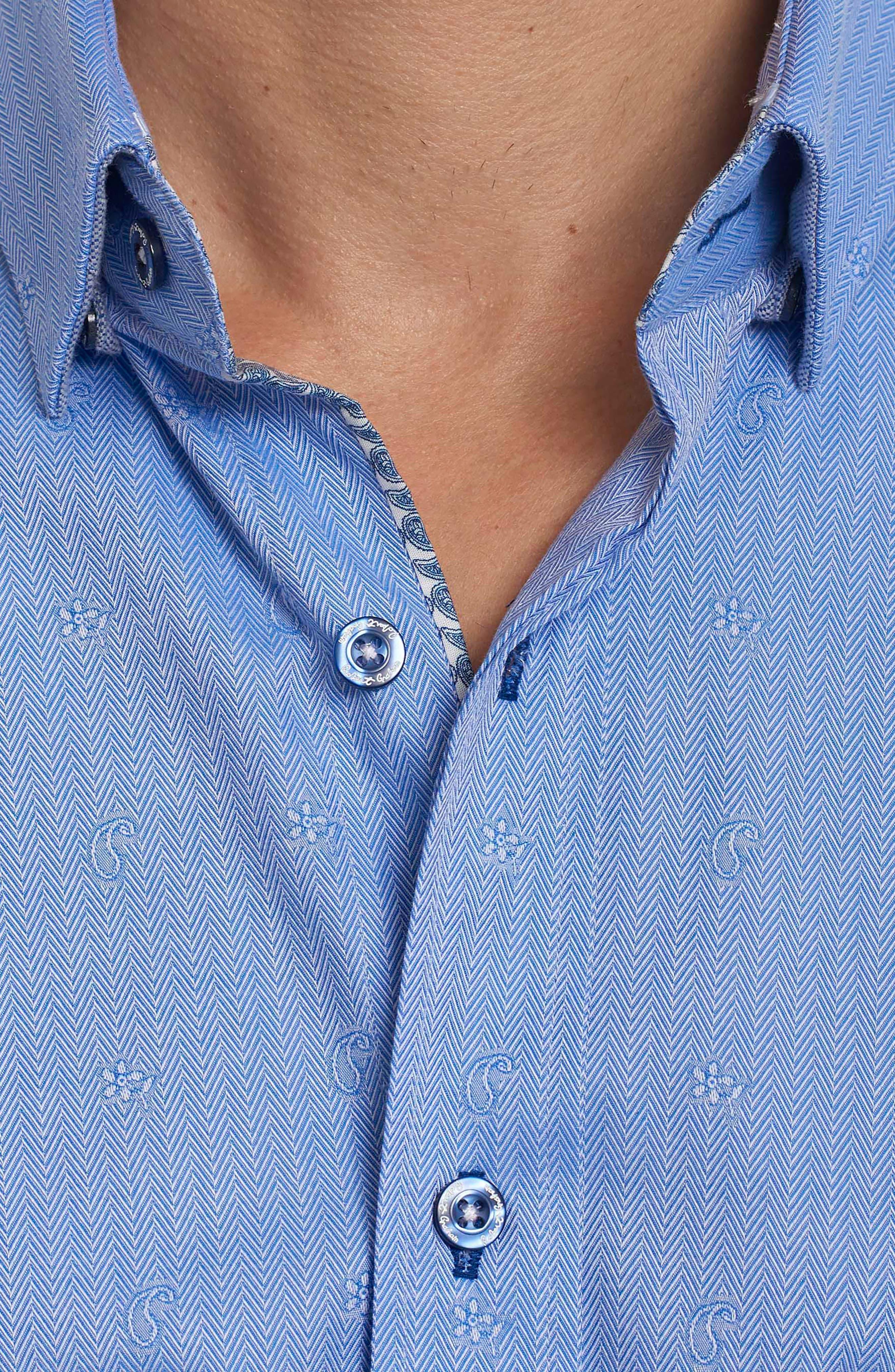 Taner Tailored Fit Dobby Herringbone Sport Shirt,                             Alternate thumbnail 5, color,                             Blue