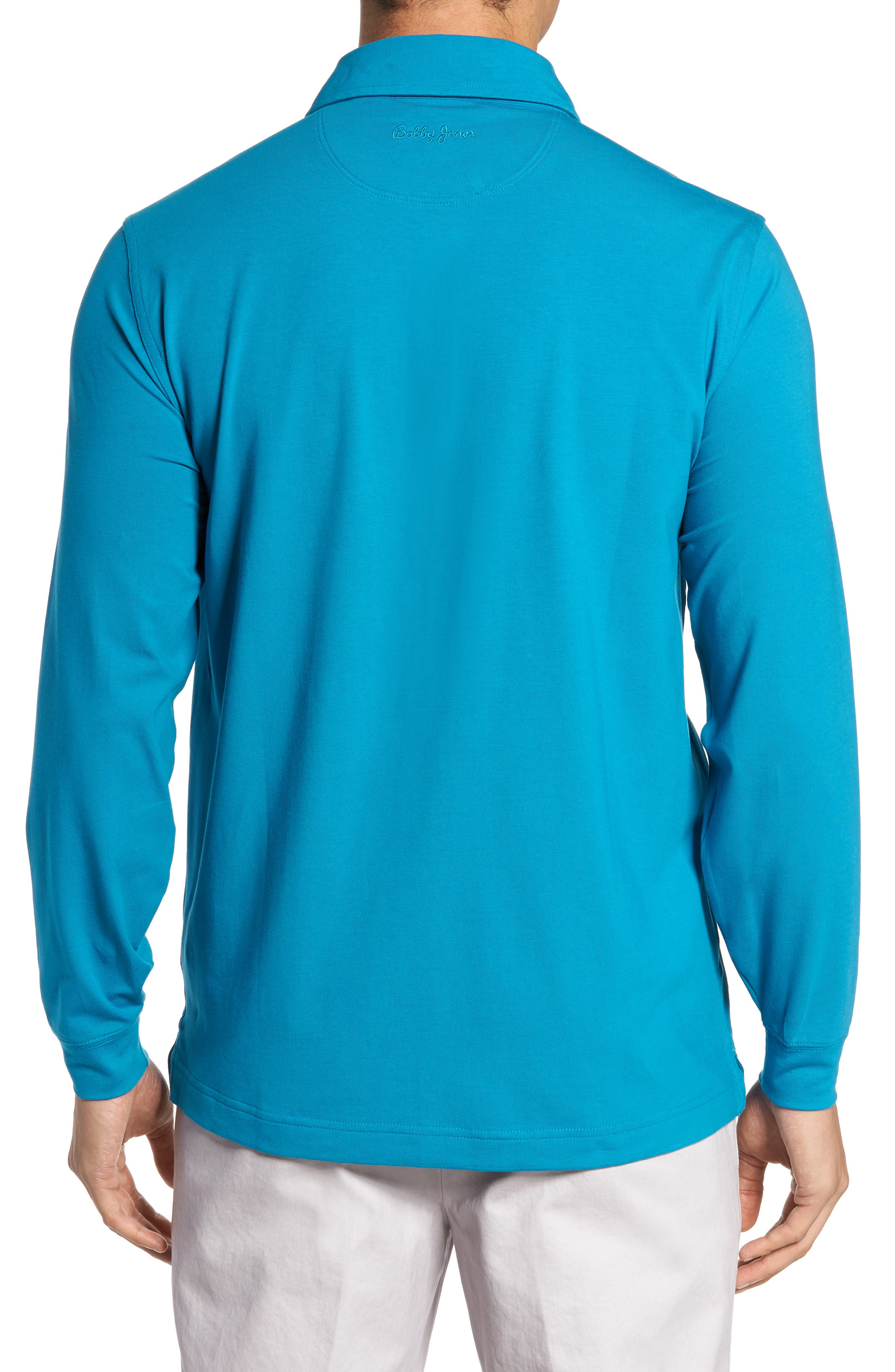 'Liquid Cotton' Long Sleeve Jersey Polo,                             Alternate thumbnail 2, color,                             Santorini