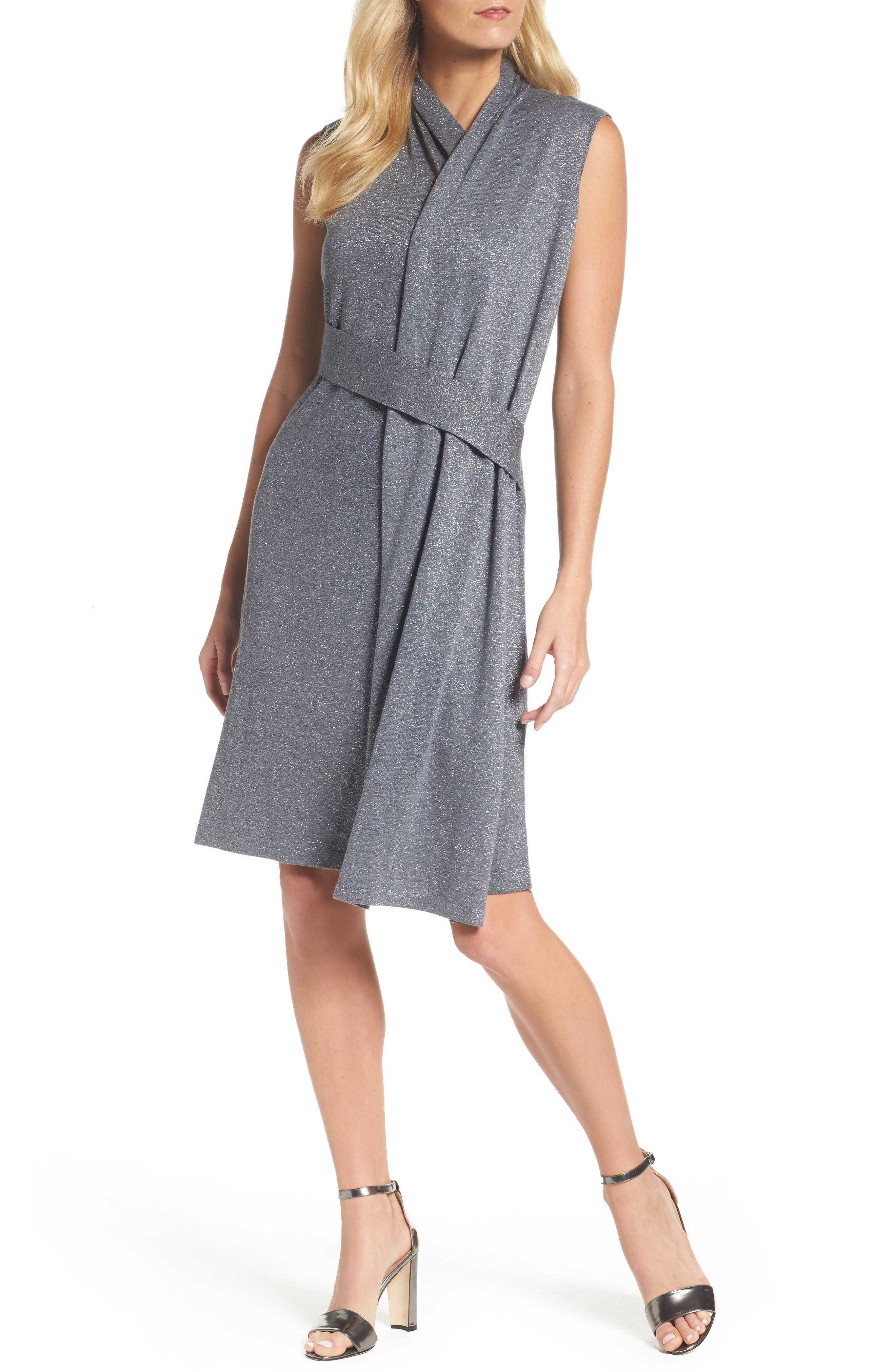 Draped Faux Wrap Dress,                         Main,                         color, Smoke