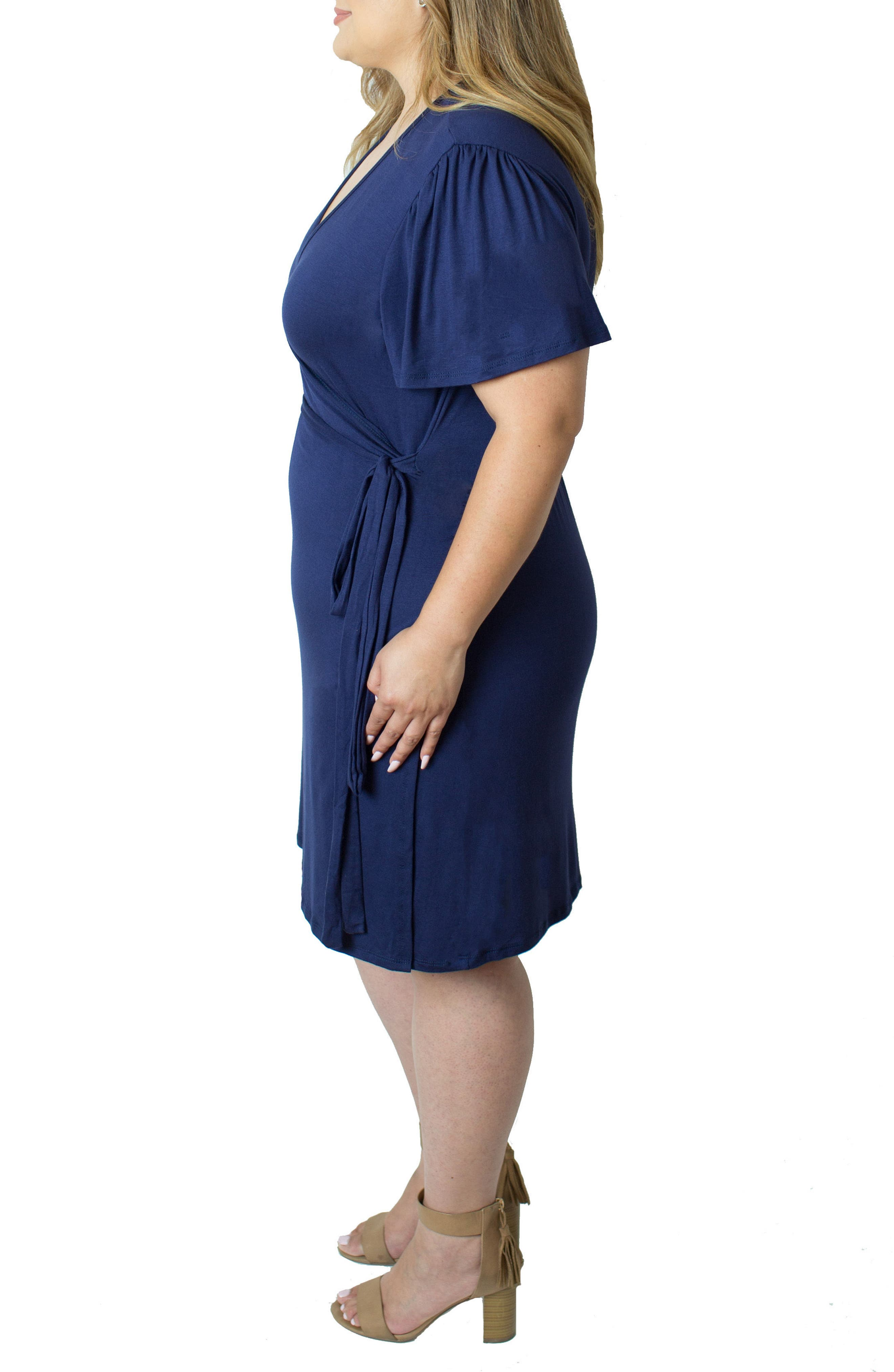 Wrap Nursing Dress,                             Alternate thumbnail 3, color,                             Blue