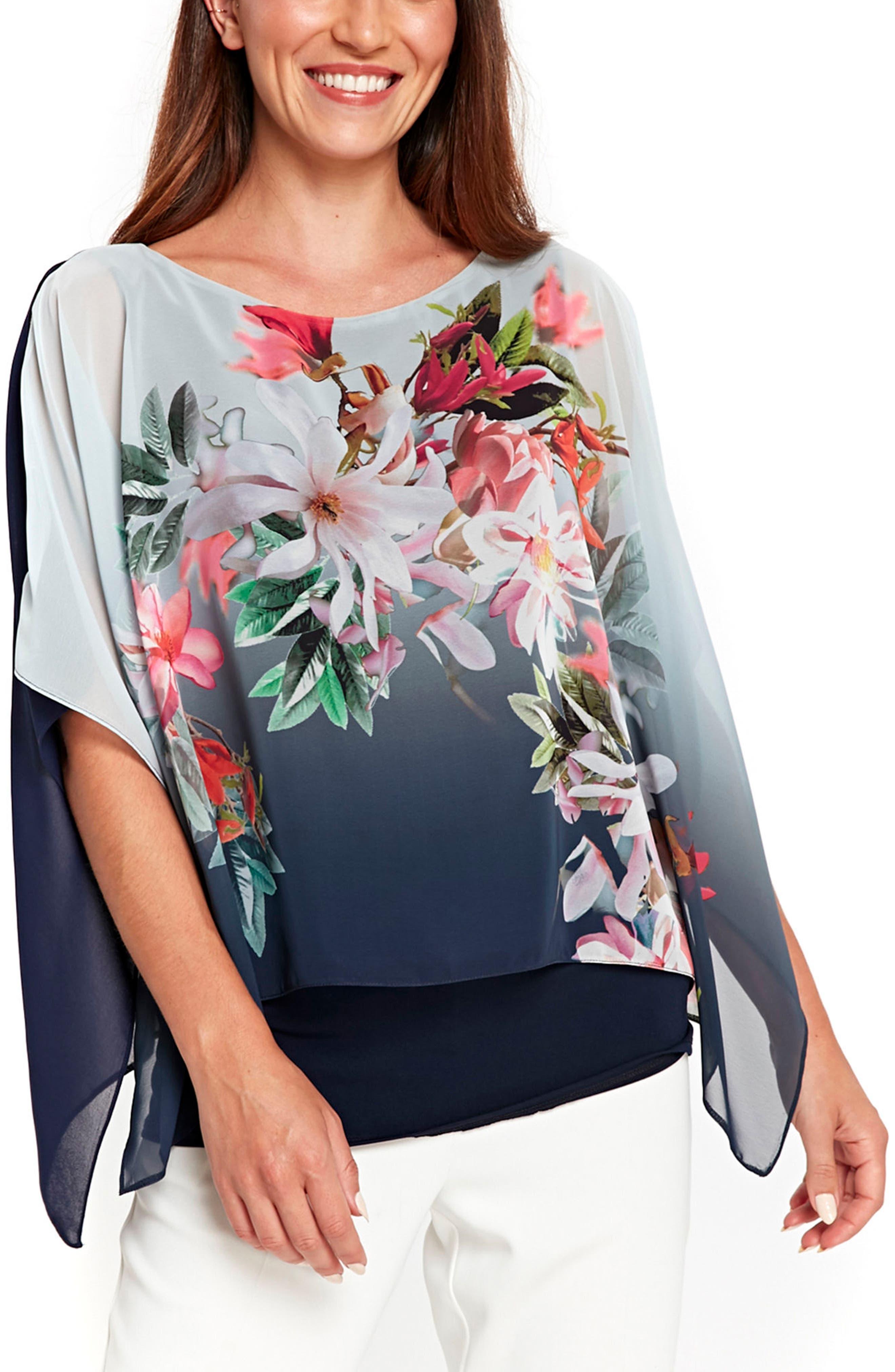 Alternate Image 1 Selected - Wallis Ombré Floral Overlay Top