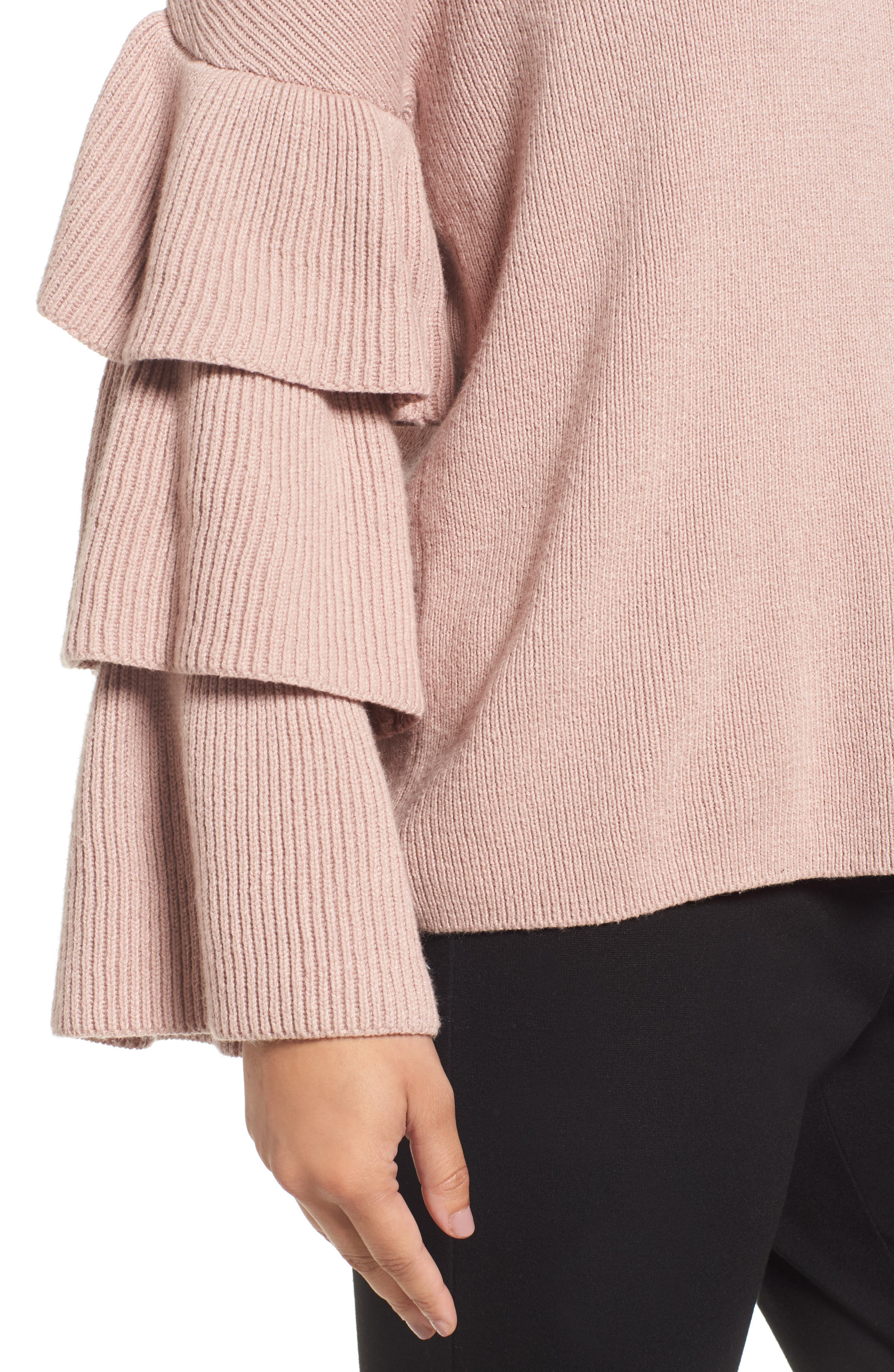 Ruffle Sleeve Sweater,                             Alternate thumbnail 7, color,                             Pink Adobe