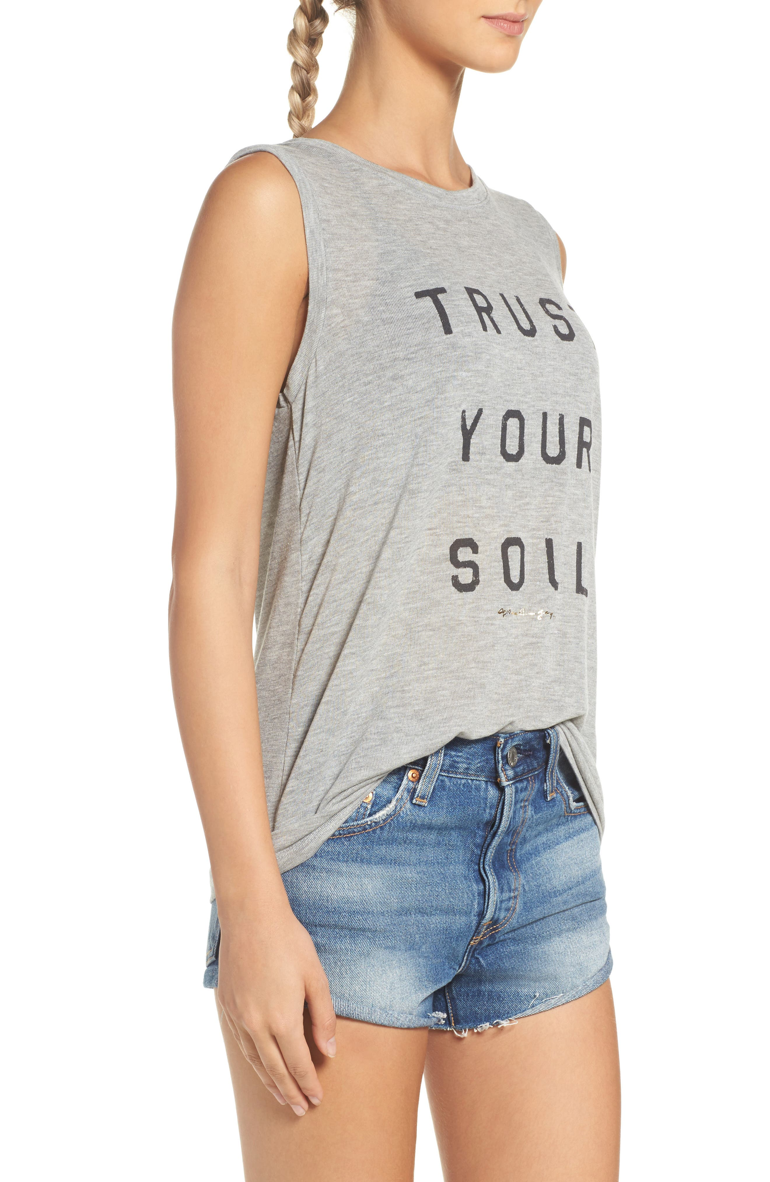 Trust Your Soul Muscle Tee,                             Alternate thumbnail 3, color,                             Heather Grey