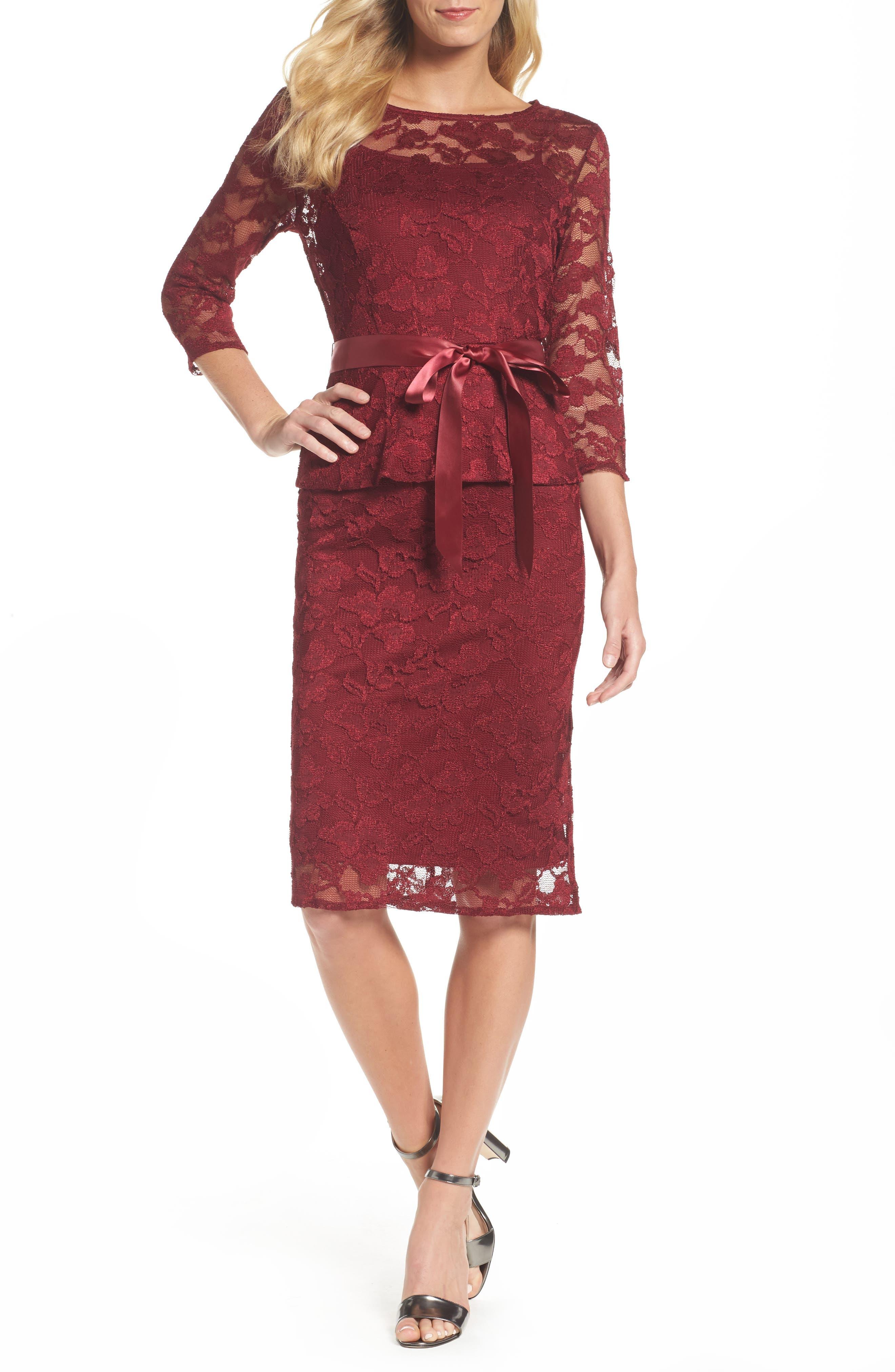Lace Sheath Dress,                         Main,                         color, Garnet