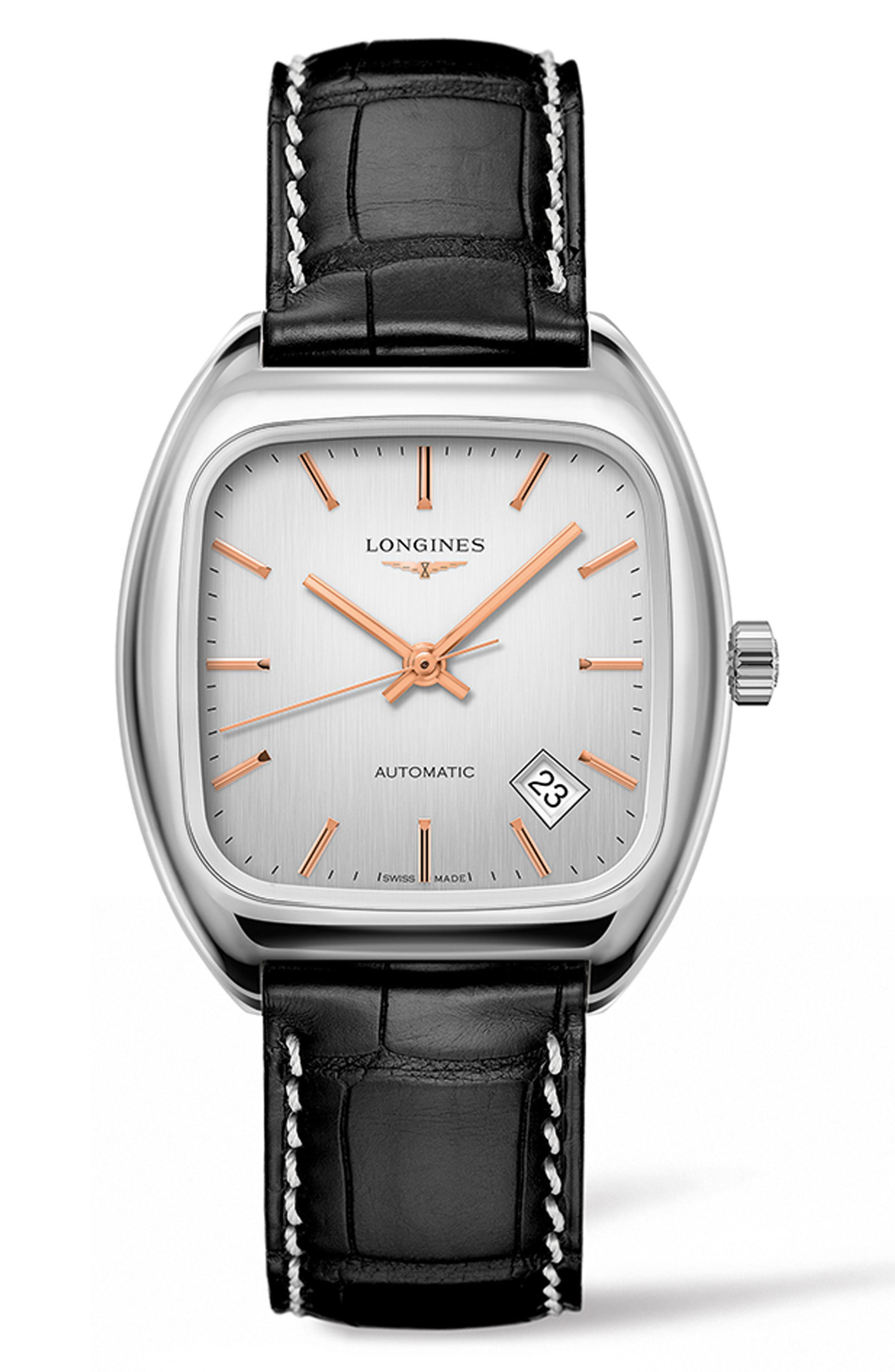 Heritage 1969 Automatic Leather Strap Watch, 36mm,                         Main,                         color, Brown/ Silver