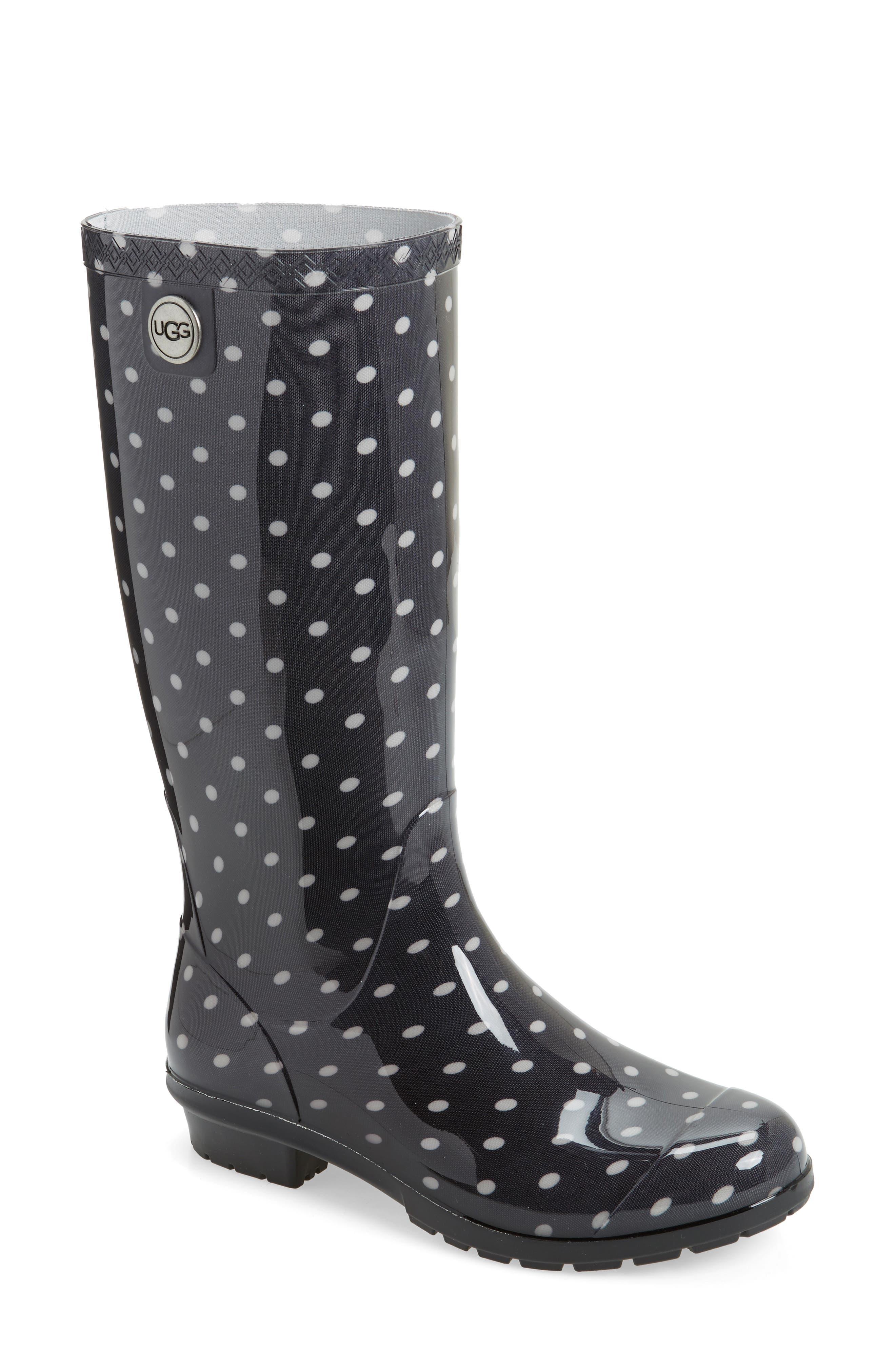 Shaye Polka Dot Rain Boot,                         Main,                         color, Black/ White