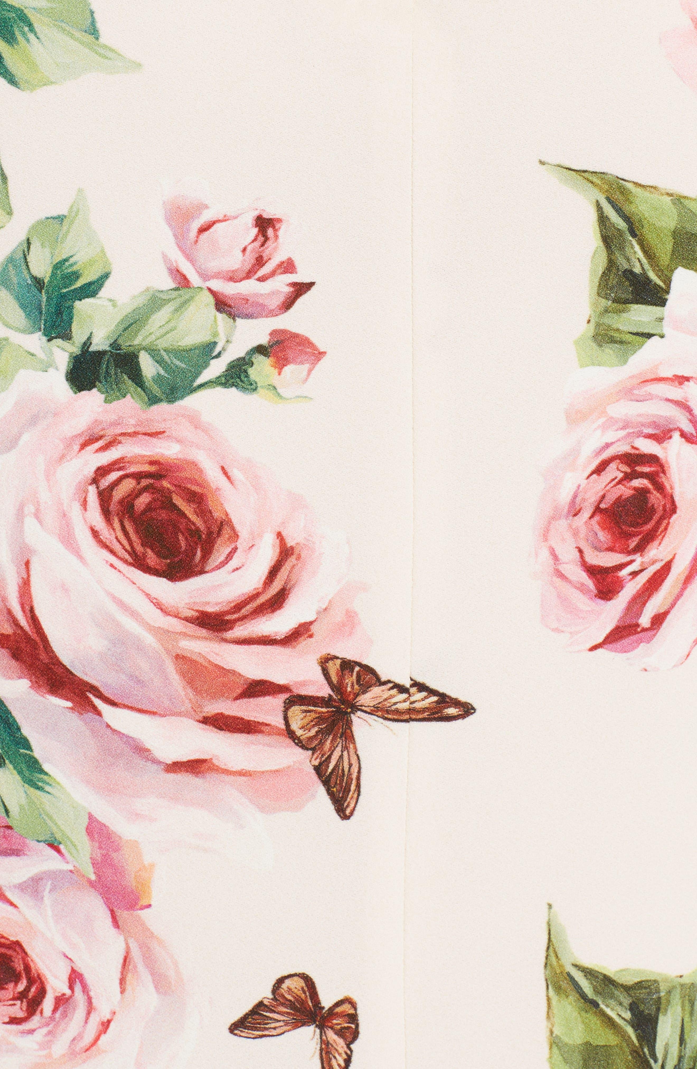 Rose Print Stretch Cady Sheath Dress,                             Alternate thumbnail 5, color,                             Pink
