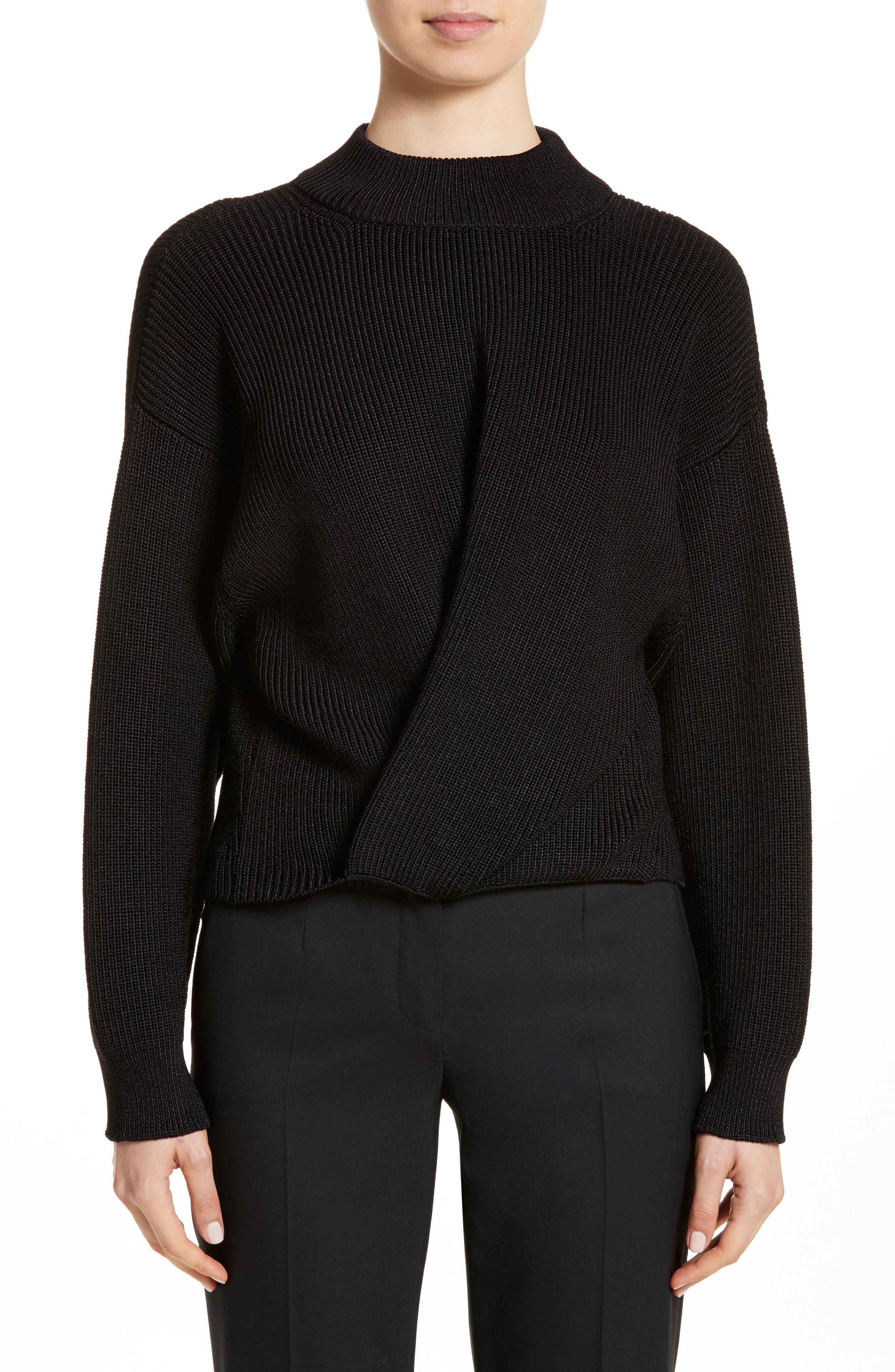 Mock Neck Sweater,                         Main,                         color, Black