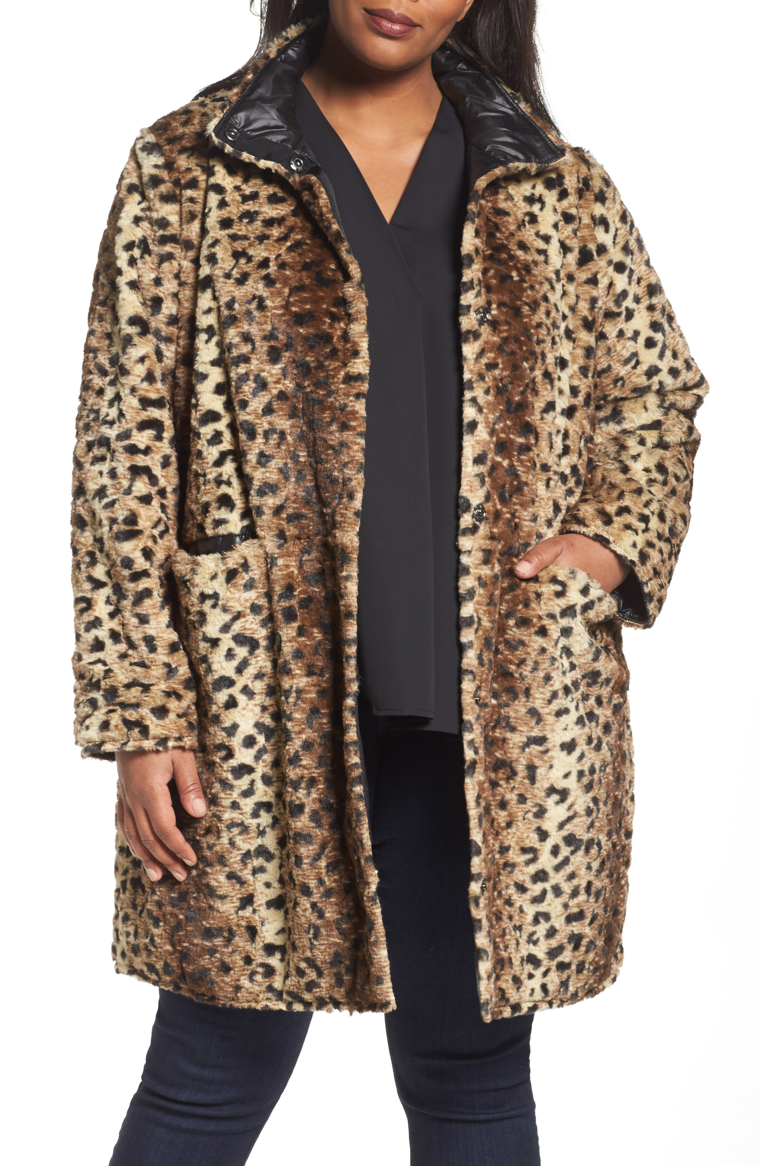 Reversible Coat,                             Main thumbnail 1, color,                             Cheetah