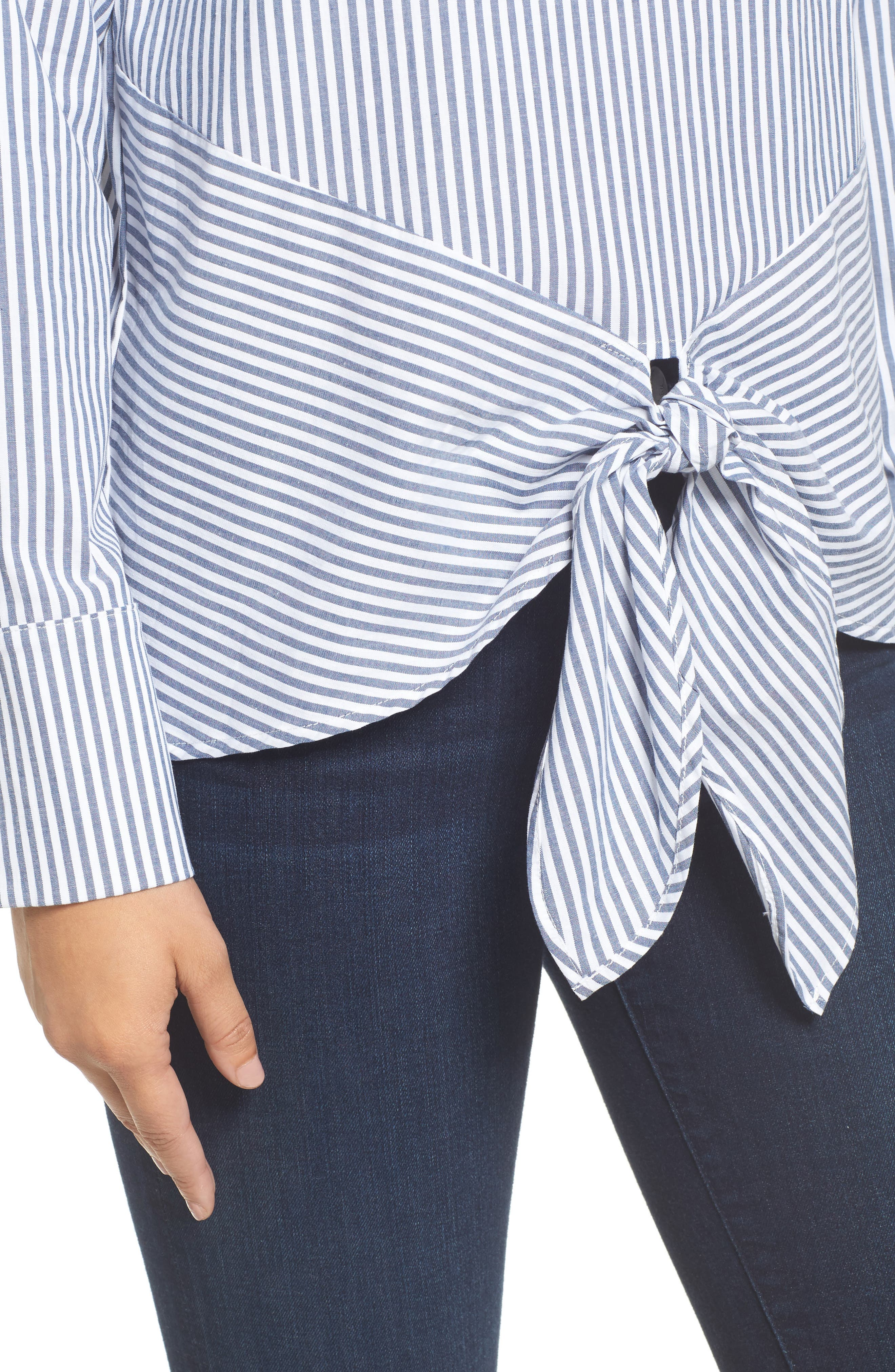 Tie Front Poplin Top,                             Alternate thumbnail 4, color,                             Denim Stripe