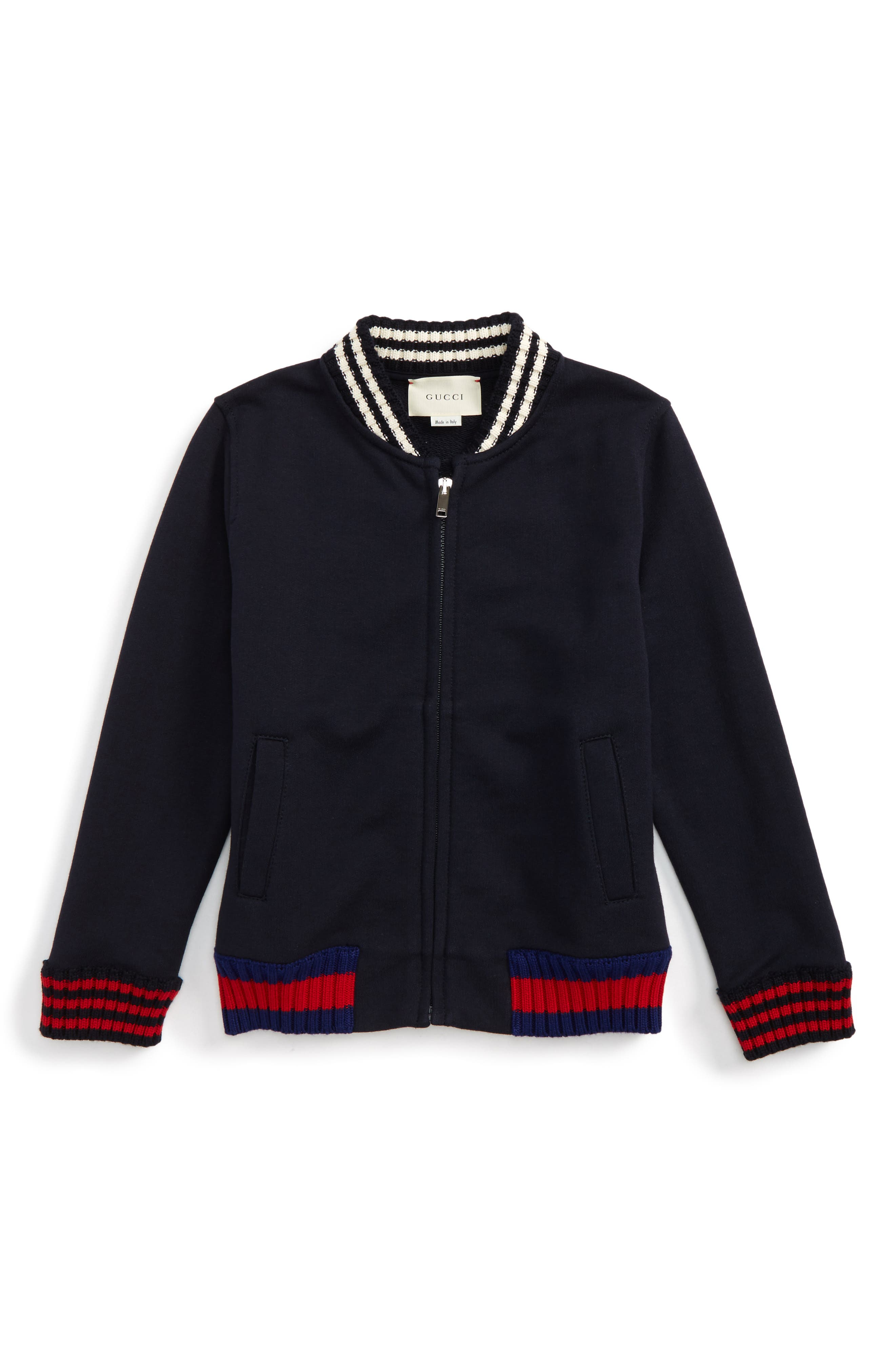 GUCCI Rib Knit Trim Front Zip Sweatshirt