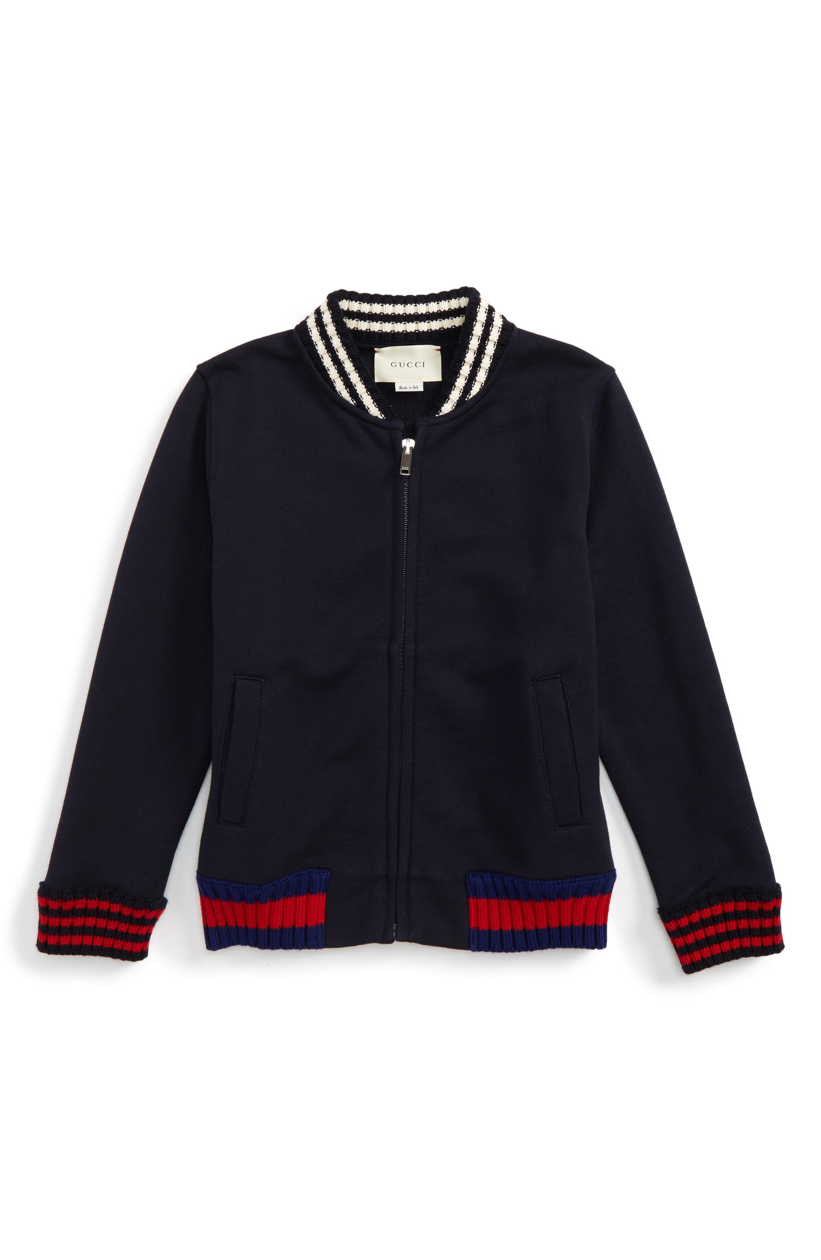 Rib Knit Trim Front Zip Sweatshirt,                             Main thumbnail 1, color,                             Blue Multi