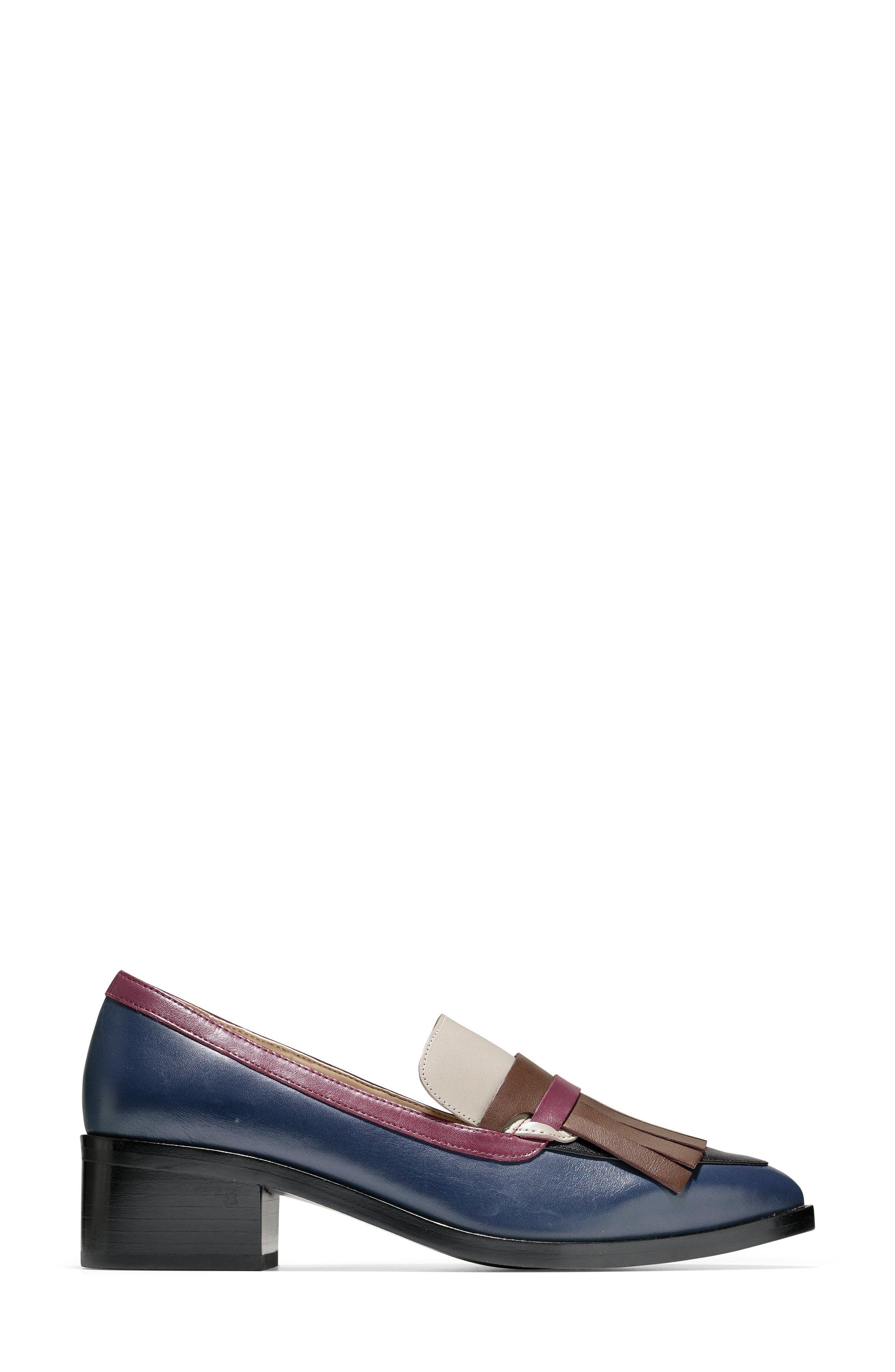 Margarite Loafer Pump,                             Alternate thumbnail 3, color,                             Marine Blue Leather