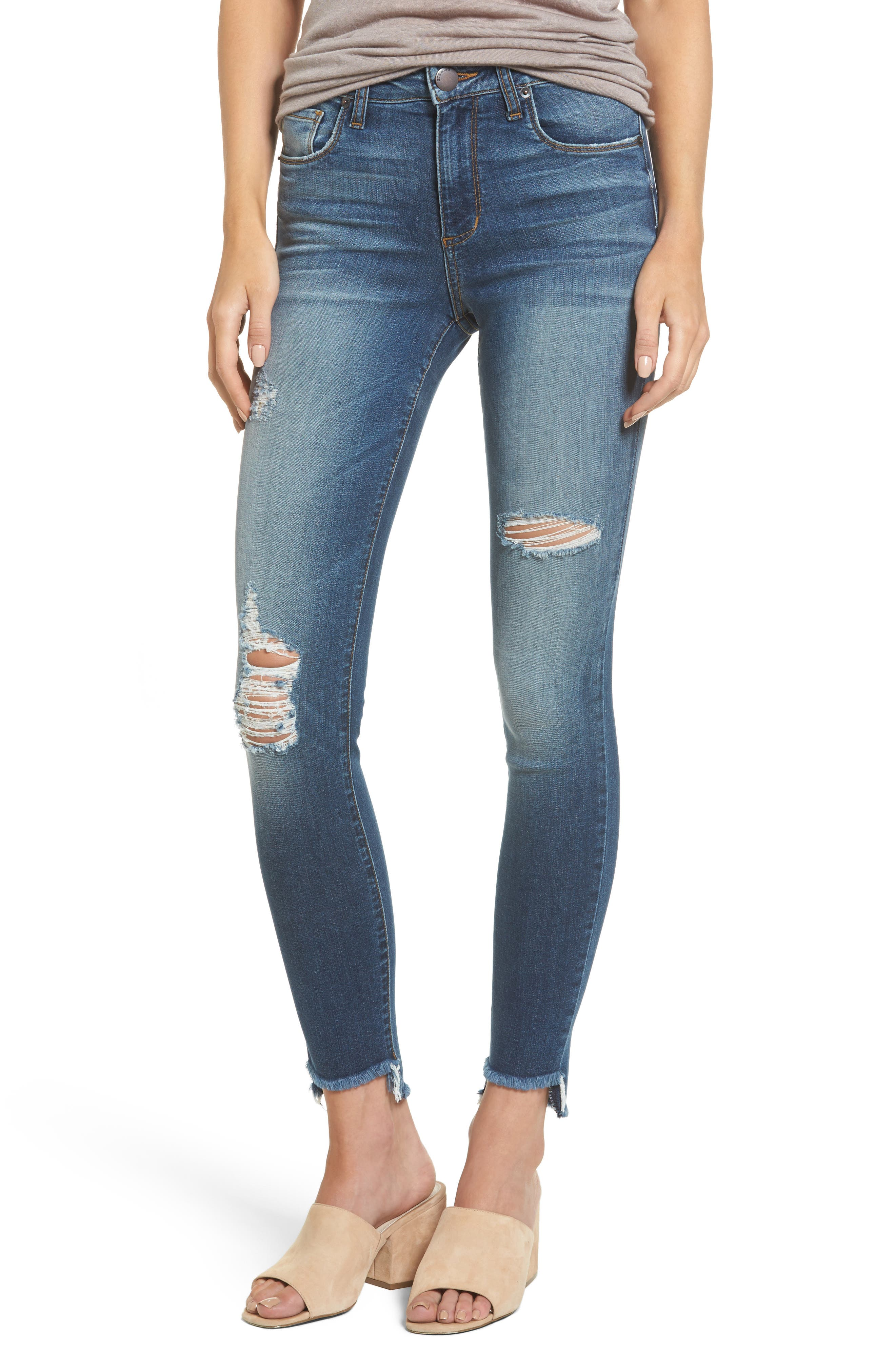 Ellie Step Hem Ripped High Waist Skinny Jeans,                         Main,                         color, Olympic