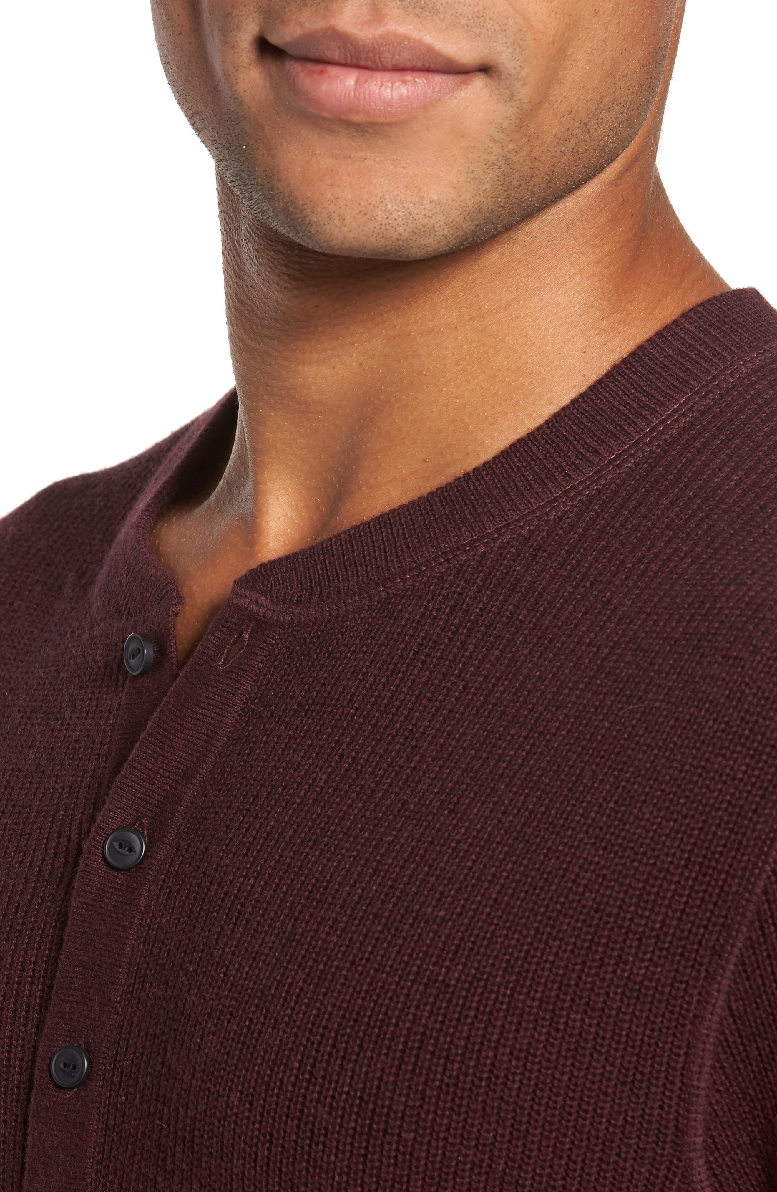 Cotton & Cashmere Henley Sweater,                             Alternate thumbnail 4, color,                             Burgundy Fudge Heather