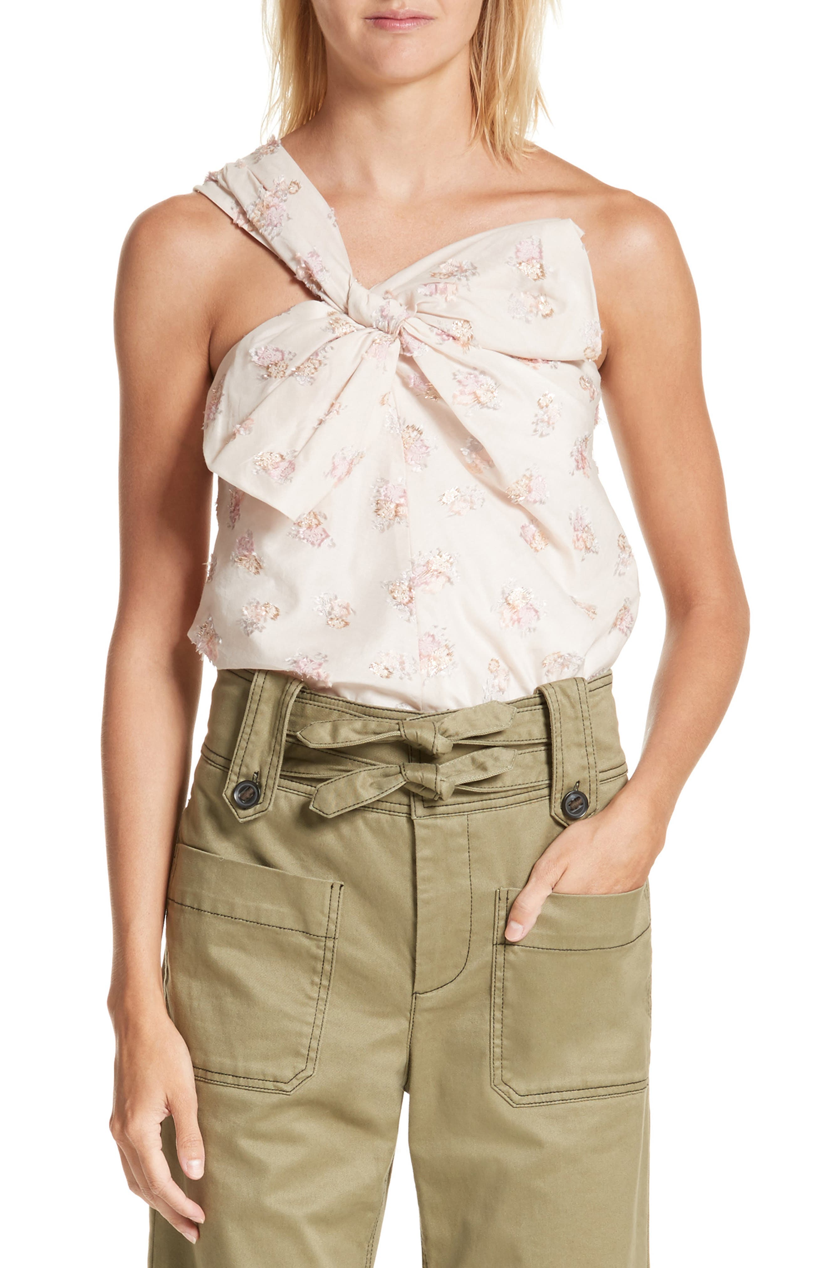 Rebecca Taylor Bow Front Floral Jacquard Top