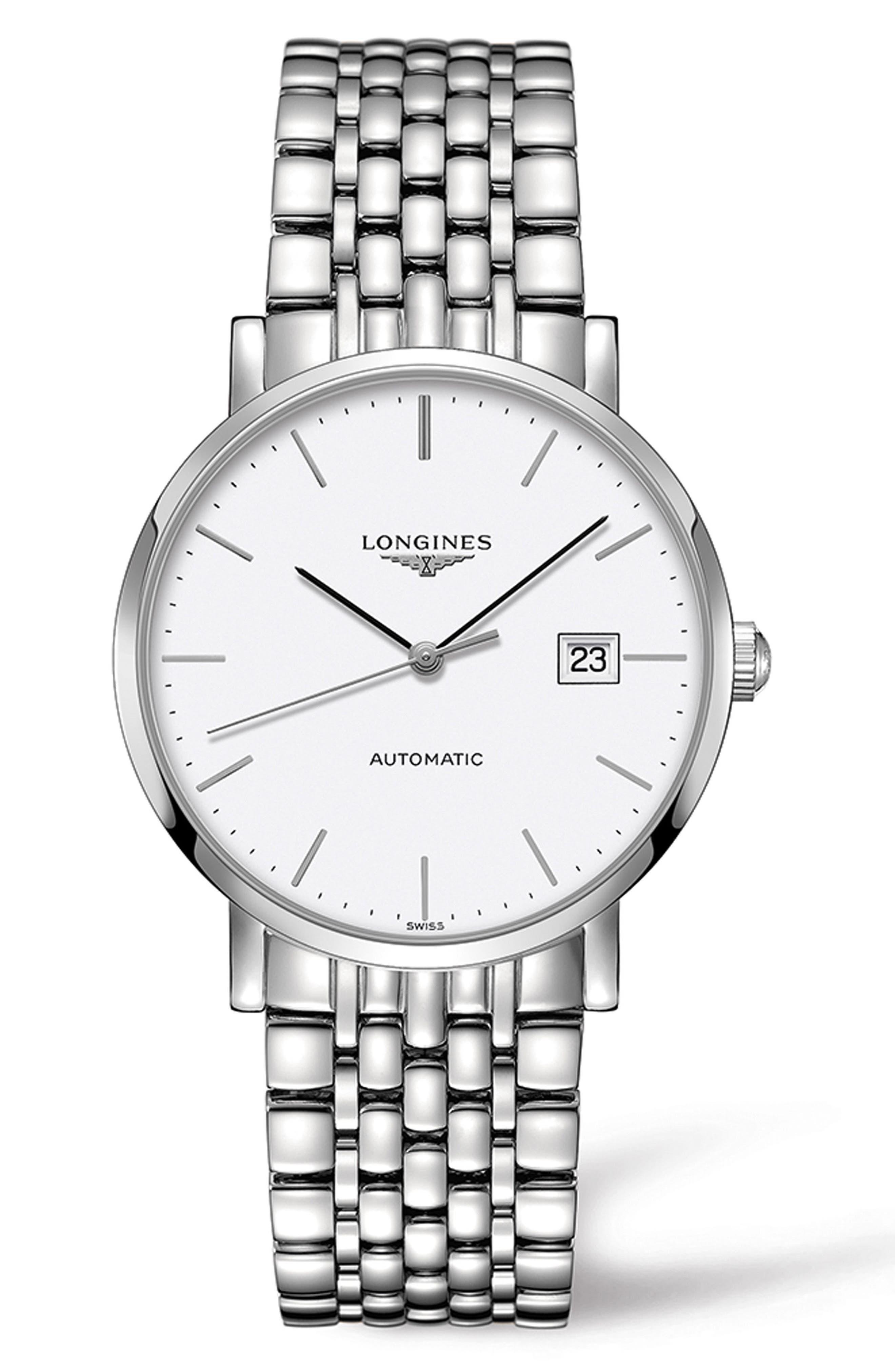 Elegant Automatic Bracelet Watch, 39mm,                         Main,                         color, Silver/ White/ Silver