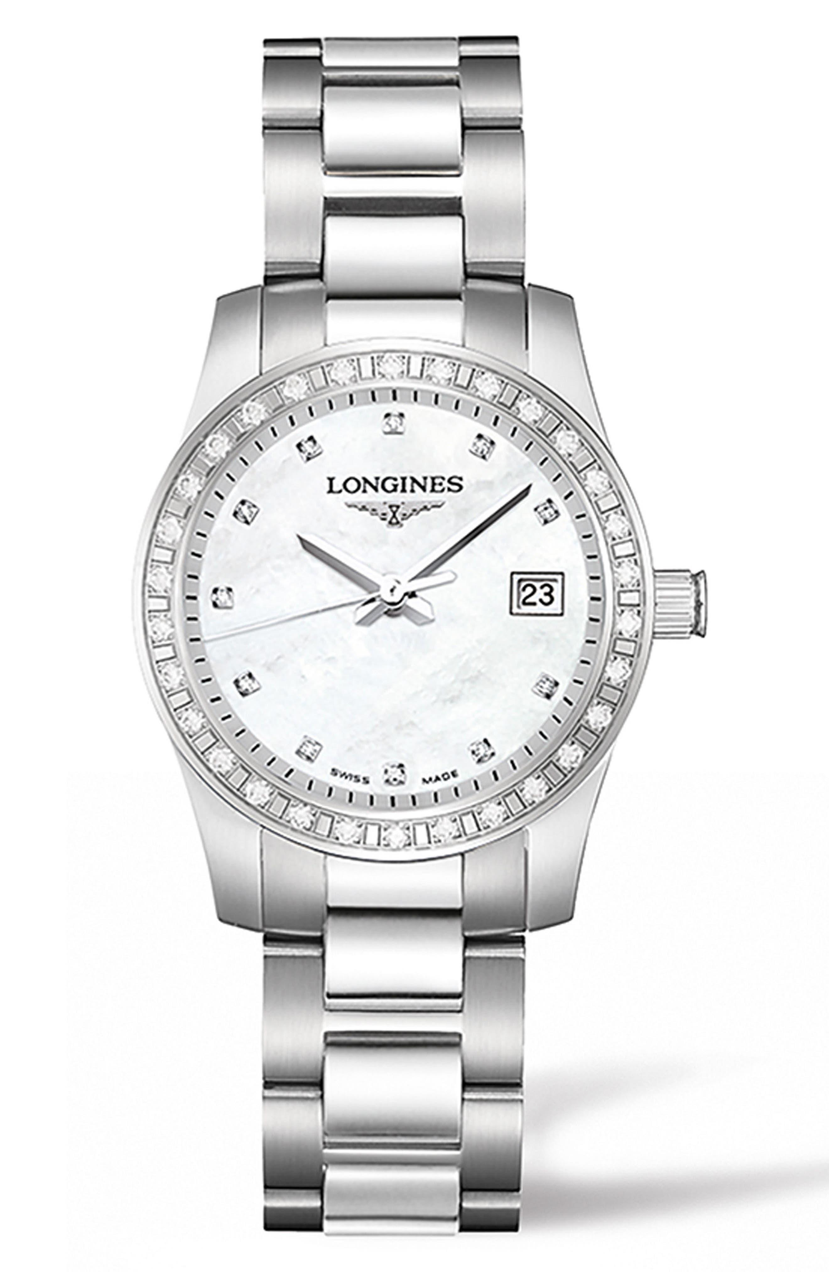 Conquest Diamond Bracelet Watch, 29.5mm,                             Main thumbnail 1, color,                             Silver/ Mop/ Silver