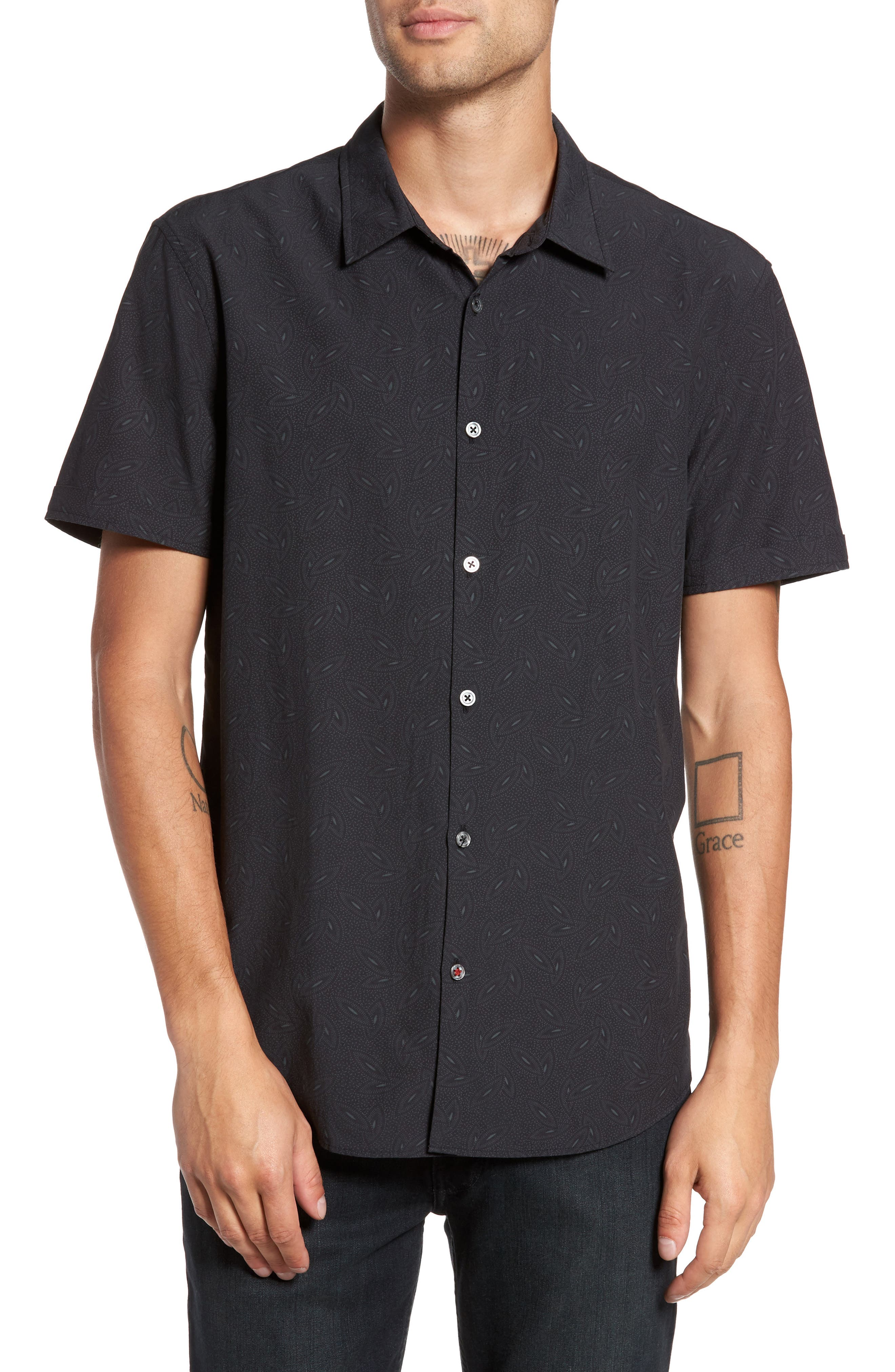 John Varvatos Mayfield Slim Fit Print Short Sleeve Sport Shirt