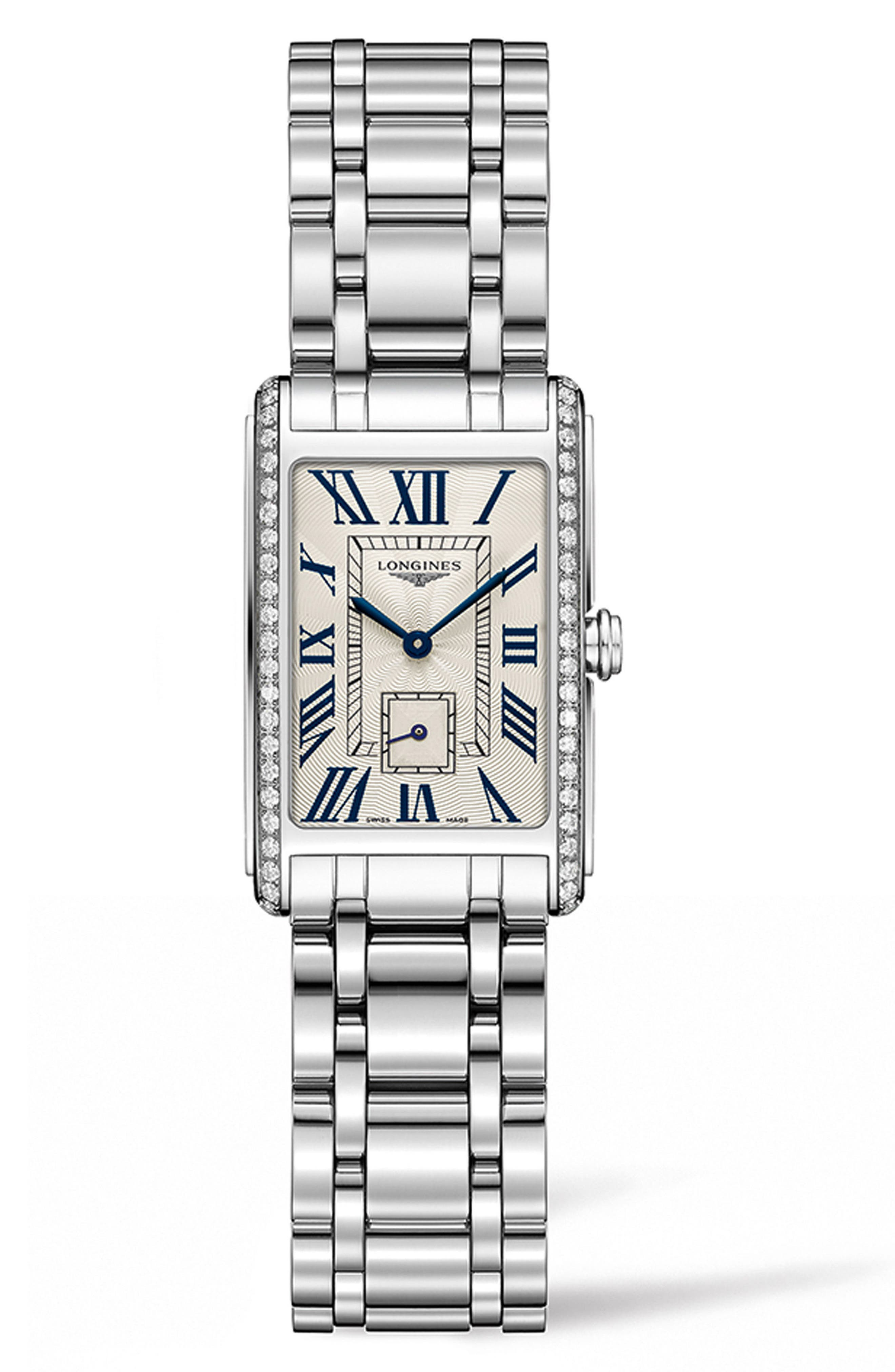 Main Image - Longines DolceVita Diamond Bracelet Watch, 20.5mm x 32mm